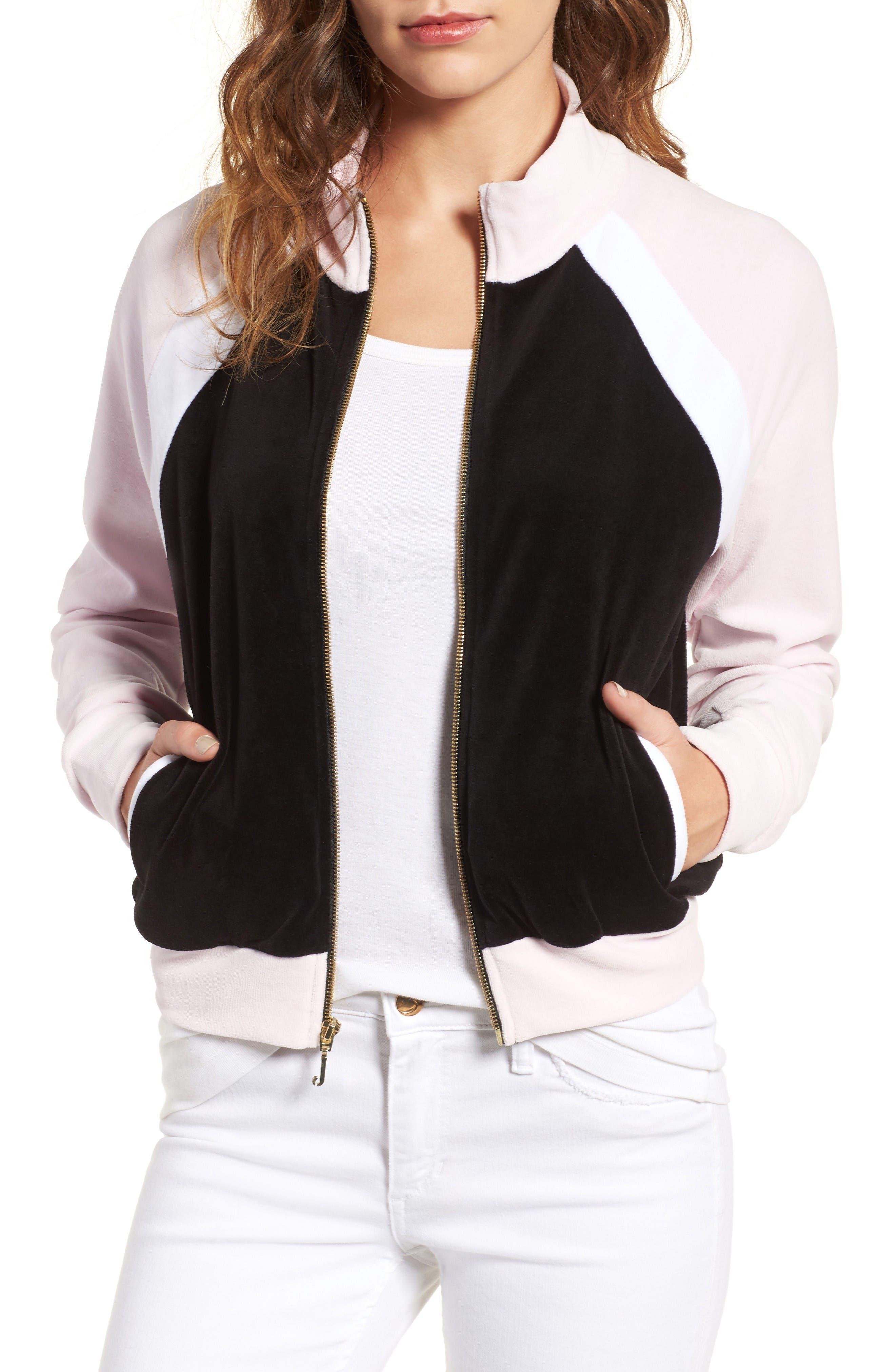 Colorblock Velour Track Jacket,                         Main,                         color, Pitch Black/ White