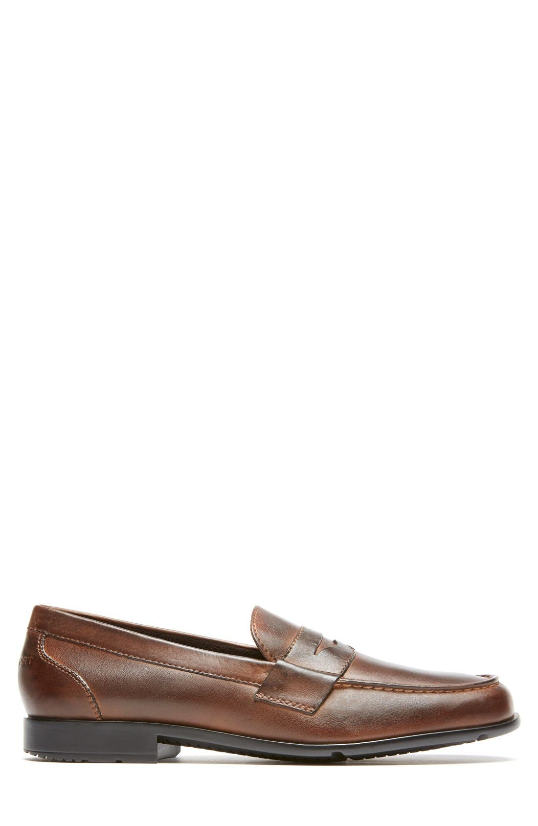 Leather Penny Loafer,                             Alternate thumbnail 3, color,                             Brown