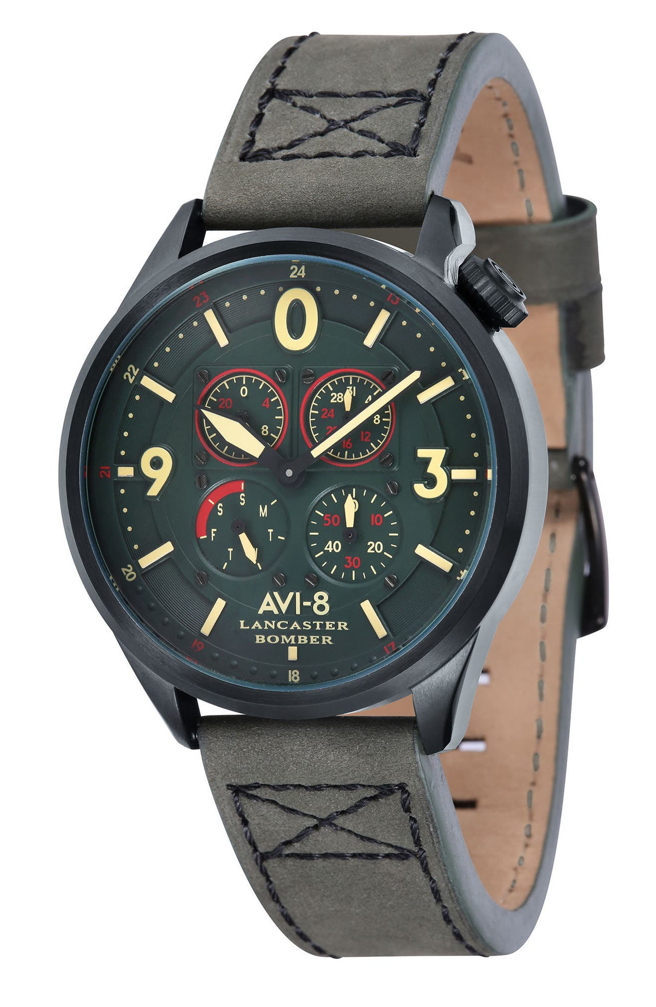 Lancaster Bomber Multifunction Leather Strap Watch, 44mm,                         Main,                         color, Forrest Green/ Army Green