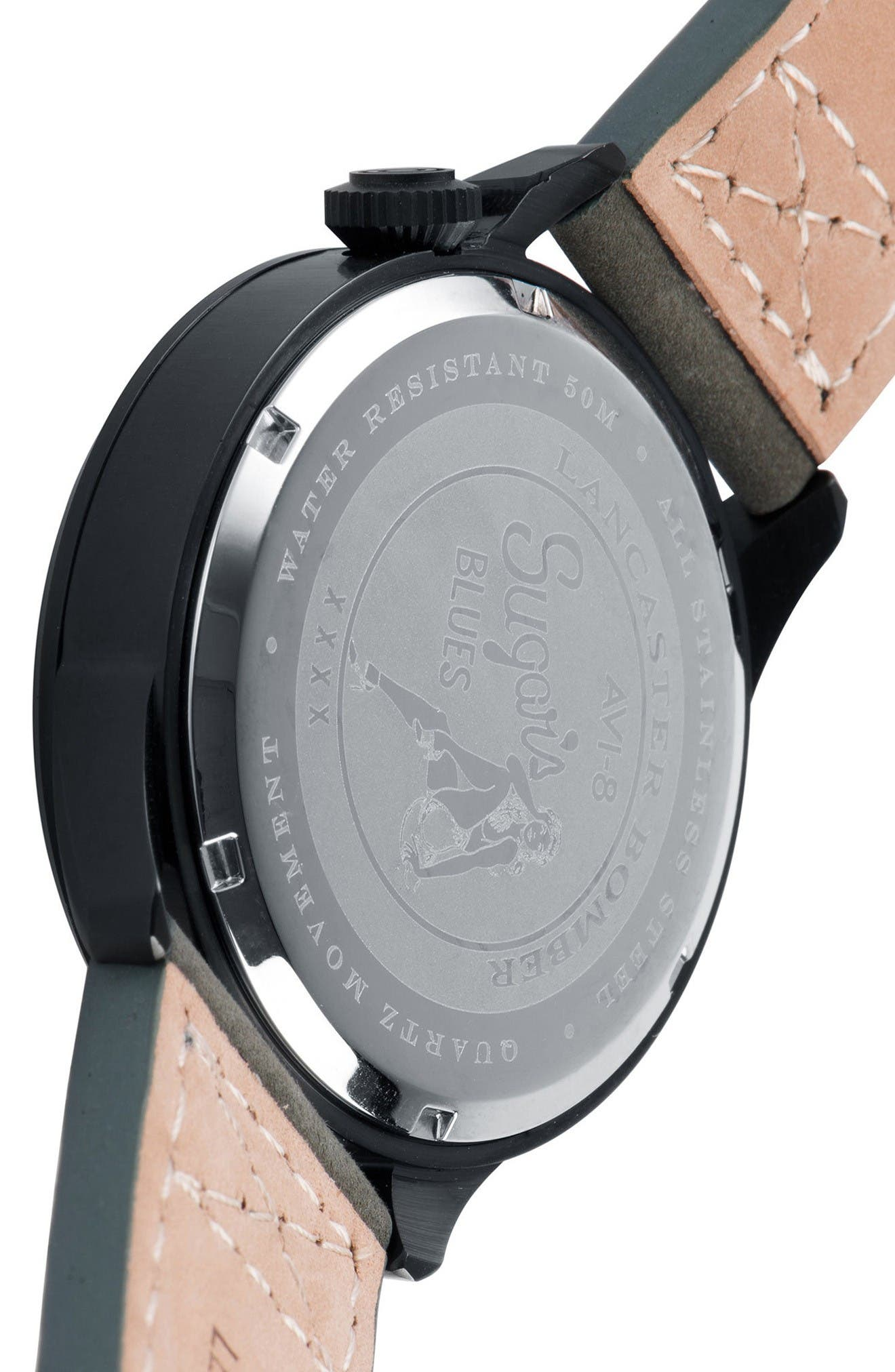 Lancaster Bomber Multifunction Leather Strap Watch, 44mm,                             Alternate thumbnail 3, color,                             Forrest Green/ Army Green