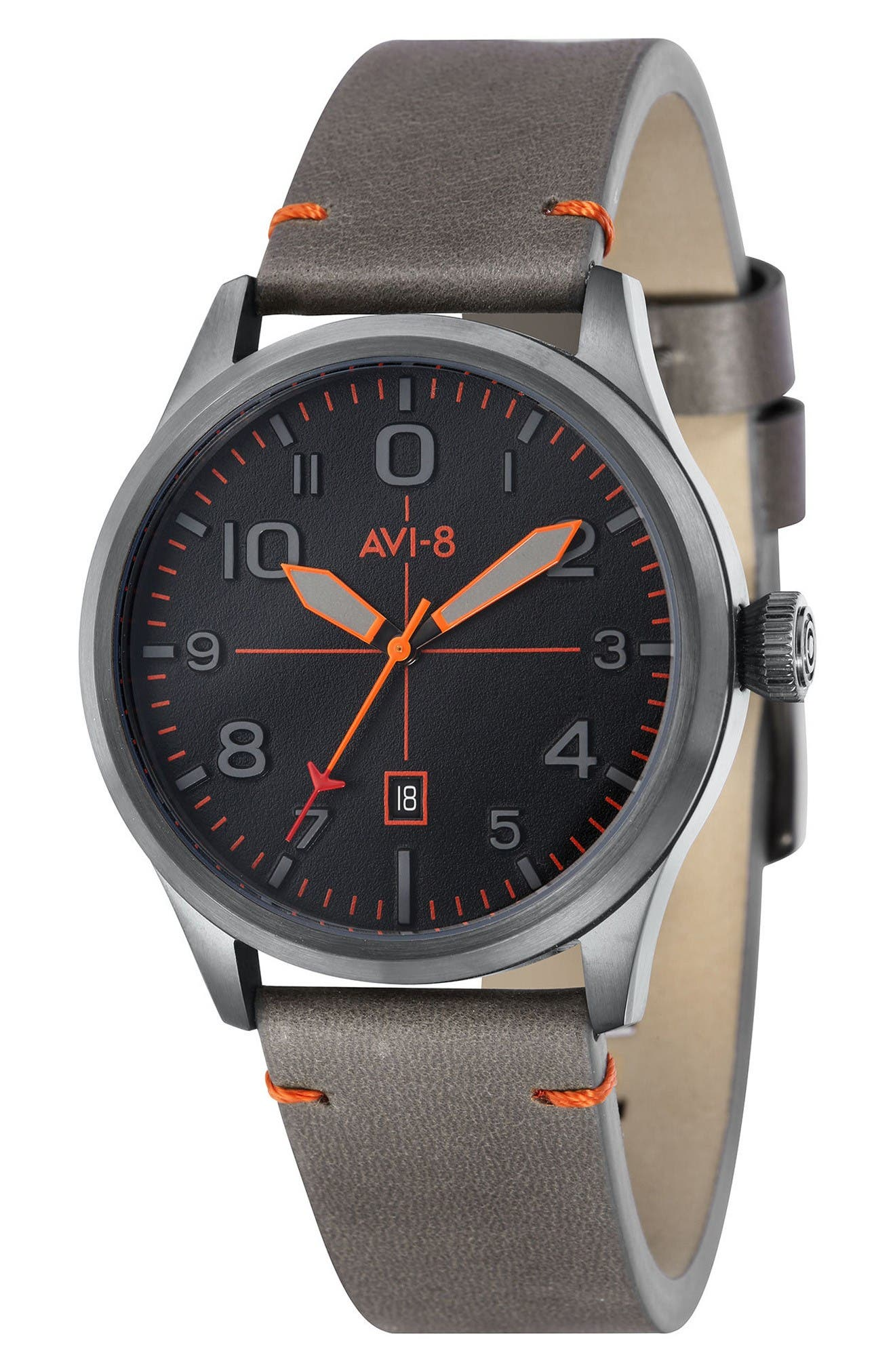 Flyboy Leather Strap Watch, 43mm,                         Main,                         color, Black/ Grey