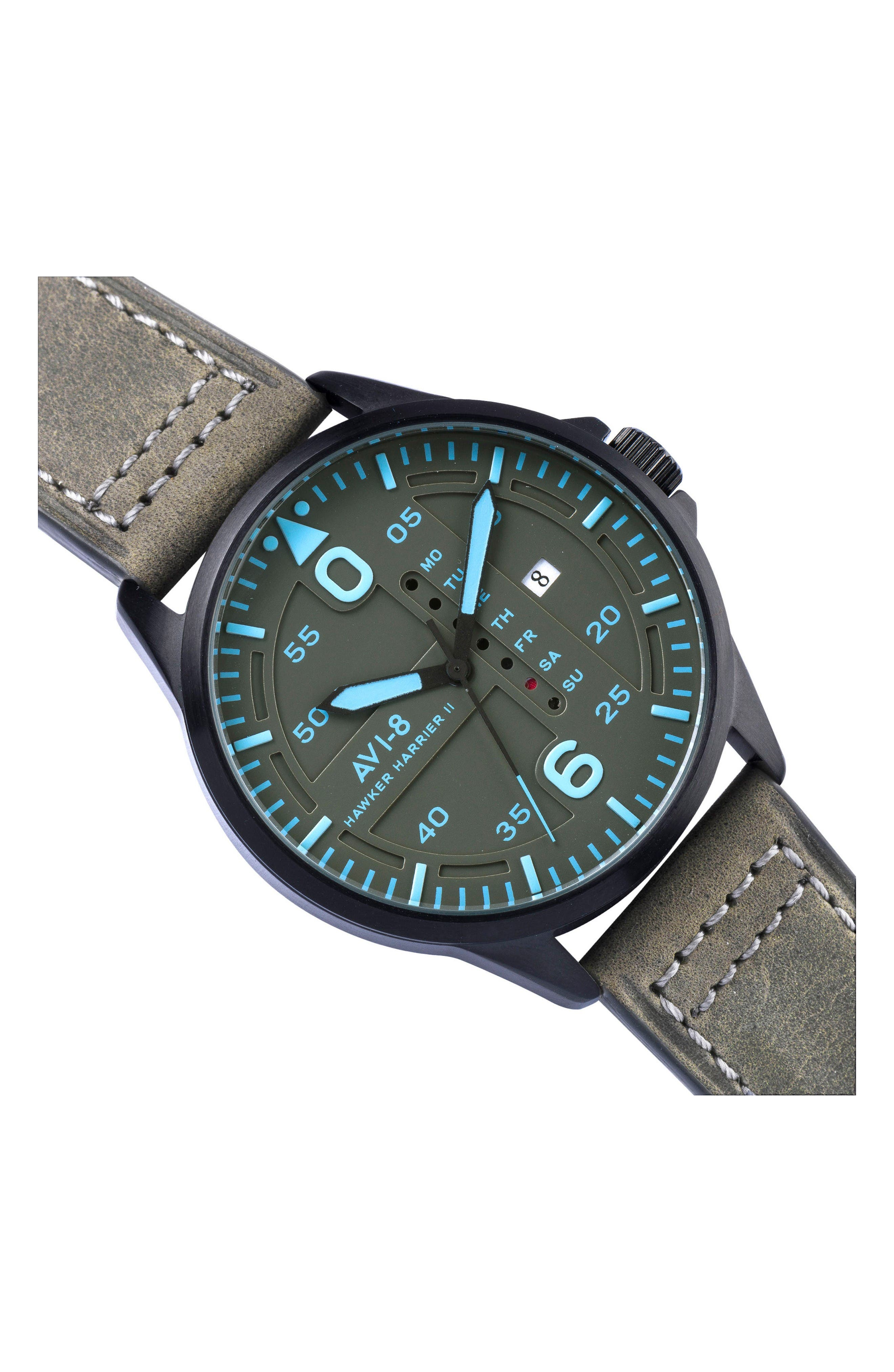 Hawker Harrier II Leather Strap Watch, 45mm,                             Alternate thumbnail 5, color,                             Grey/ Grey