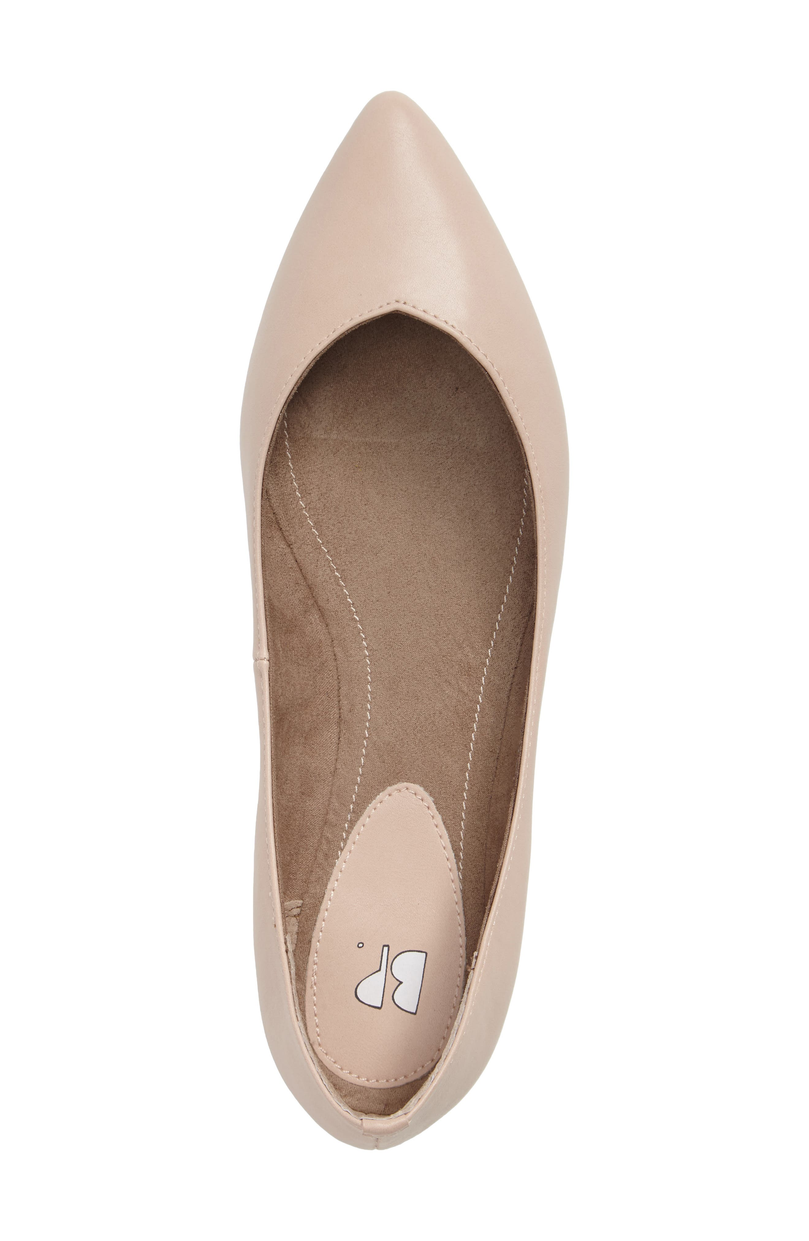 'Moveover' Pointy Toe Flat,                             Alternate thumbnail 3, color,                             Blush Faux Leather