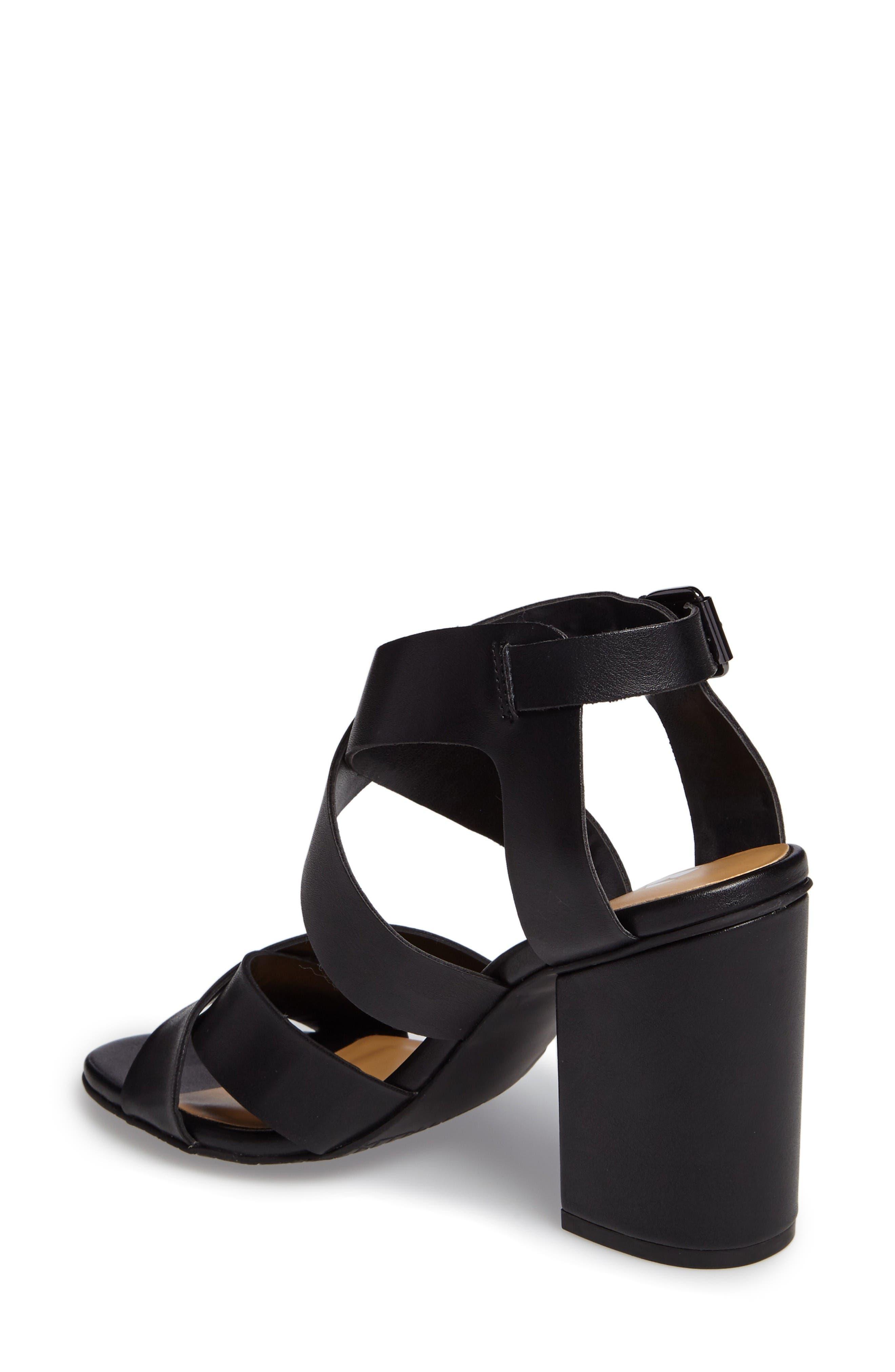 Terry Block Heel Sandal,                             Alternate thumbnail 2, color,                             Black Faux Leather