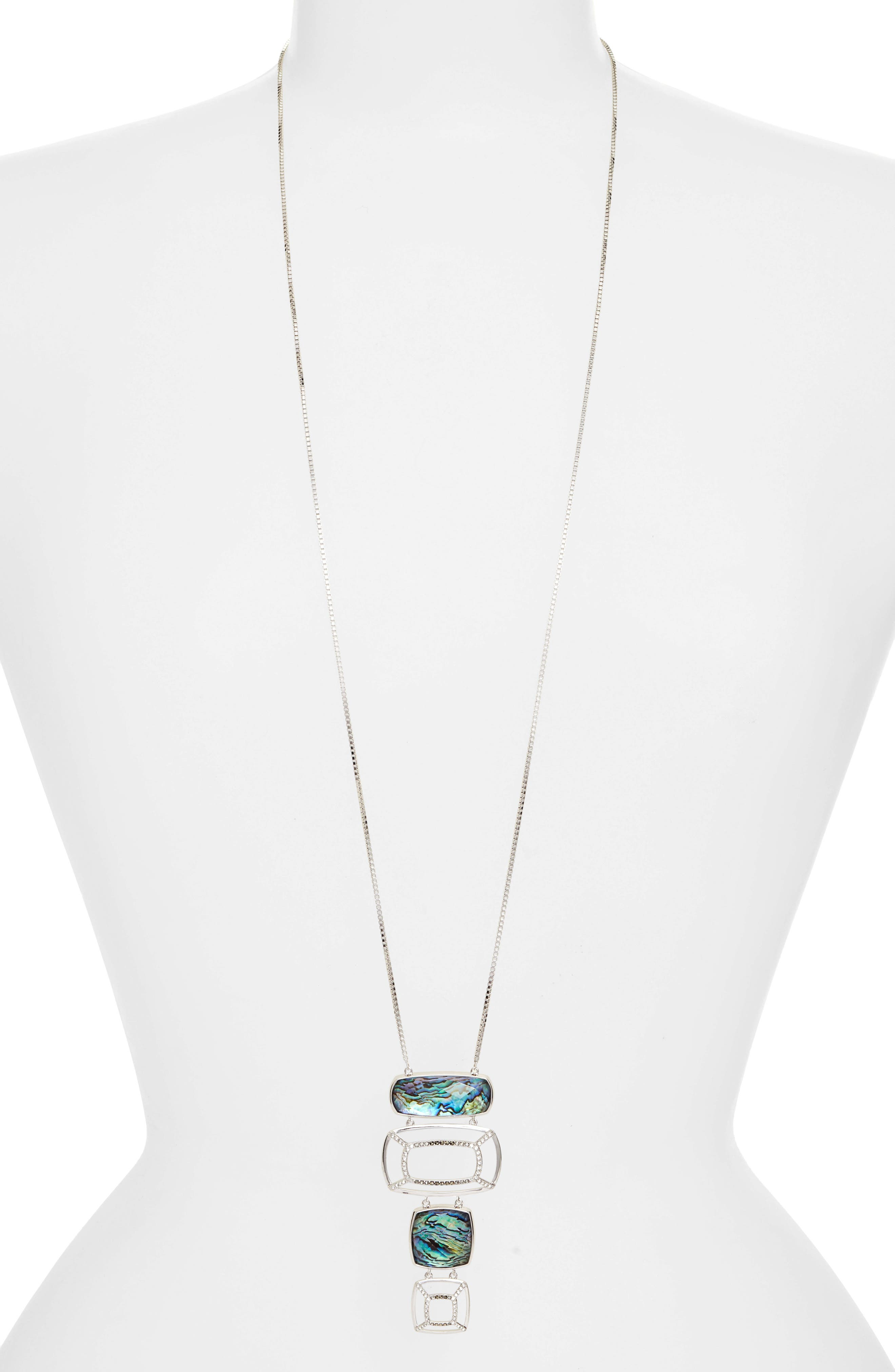 JUDITH JACK Abalone Long Pendant Necklace