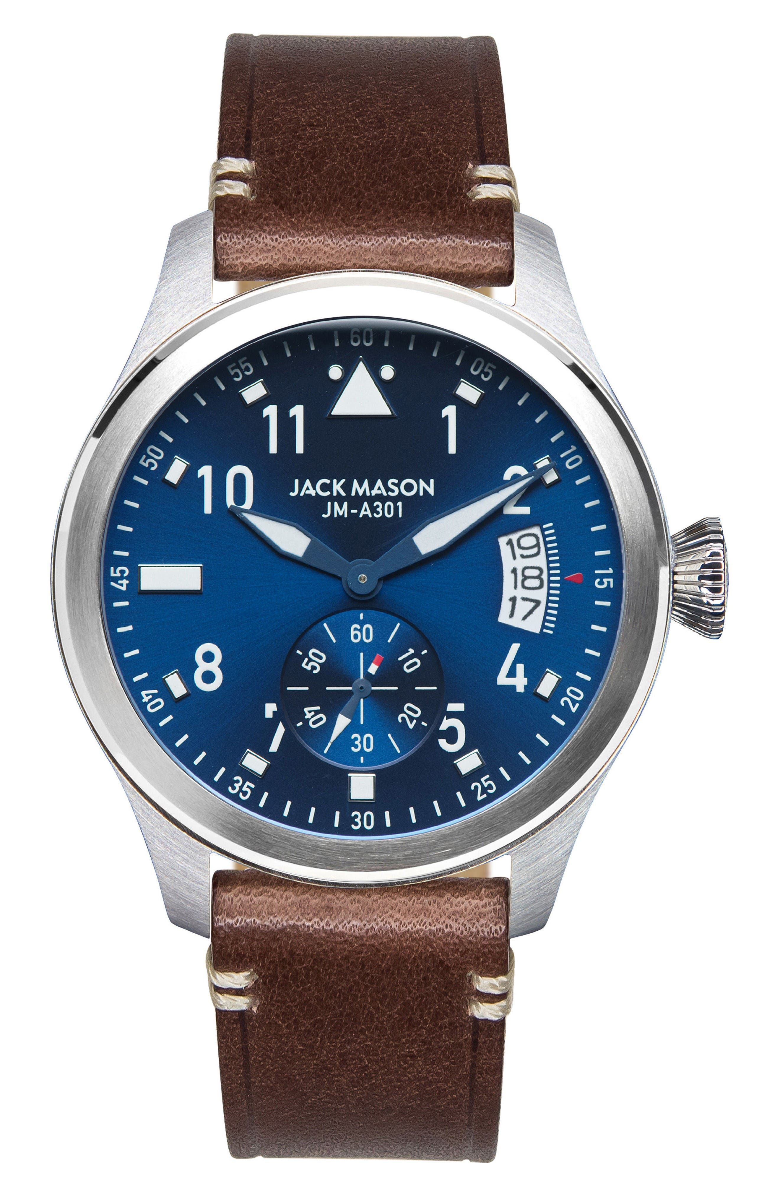 Aviation Leather Strap Watch, 45mm,                         Main,                         color, Brown/ Navy/ Silver
