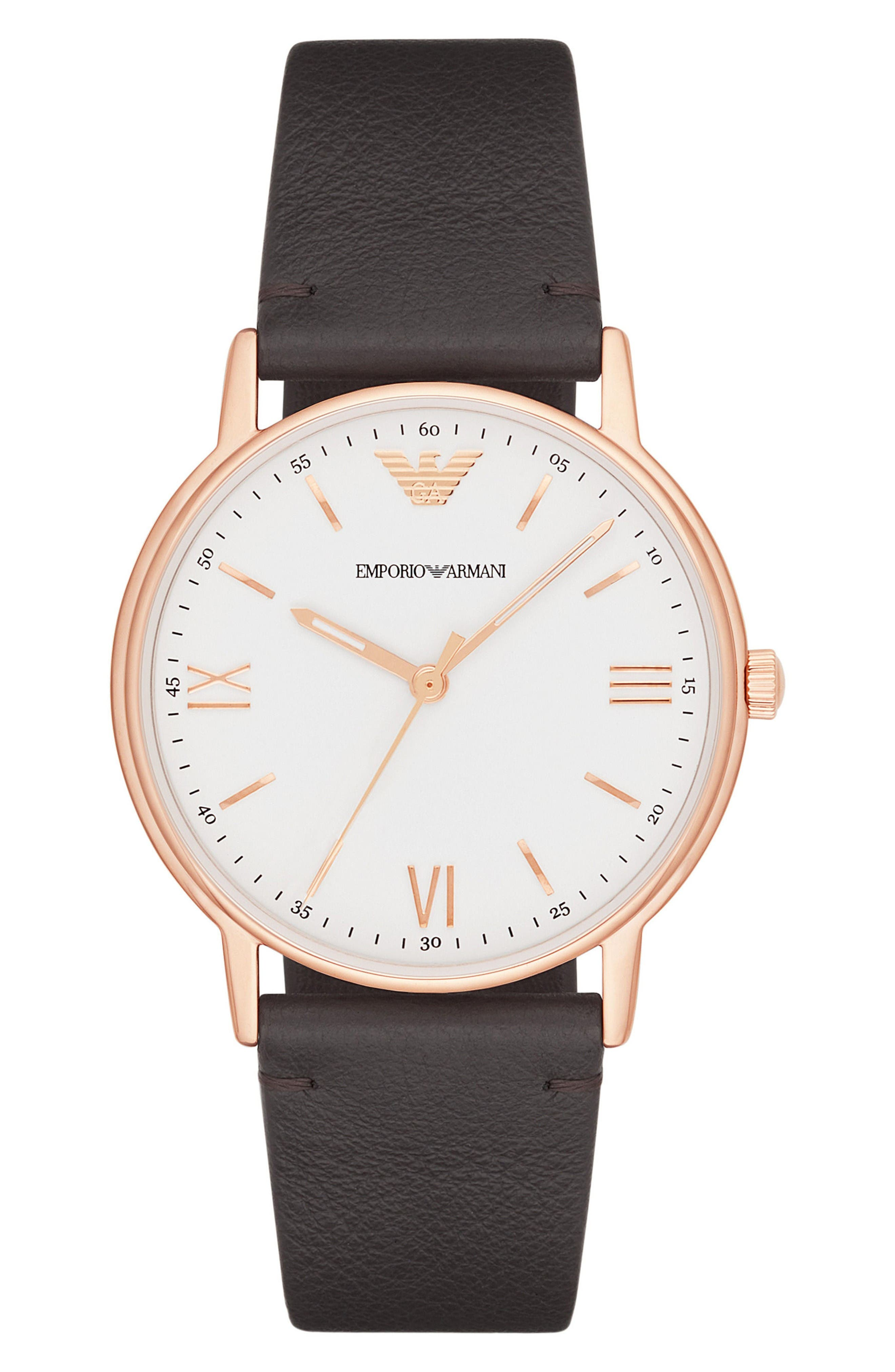 Leather Strap Watch, 43mm,                         Main,                         color, White/ Brown