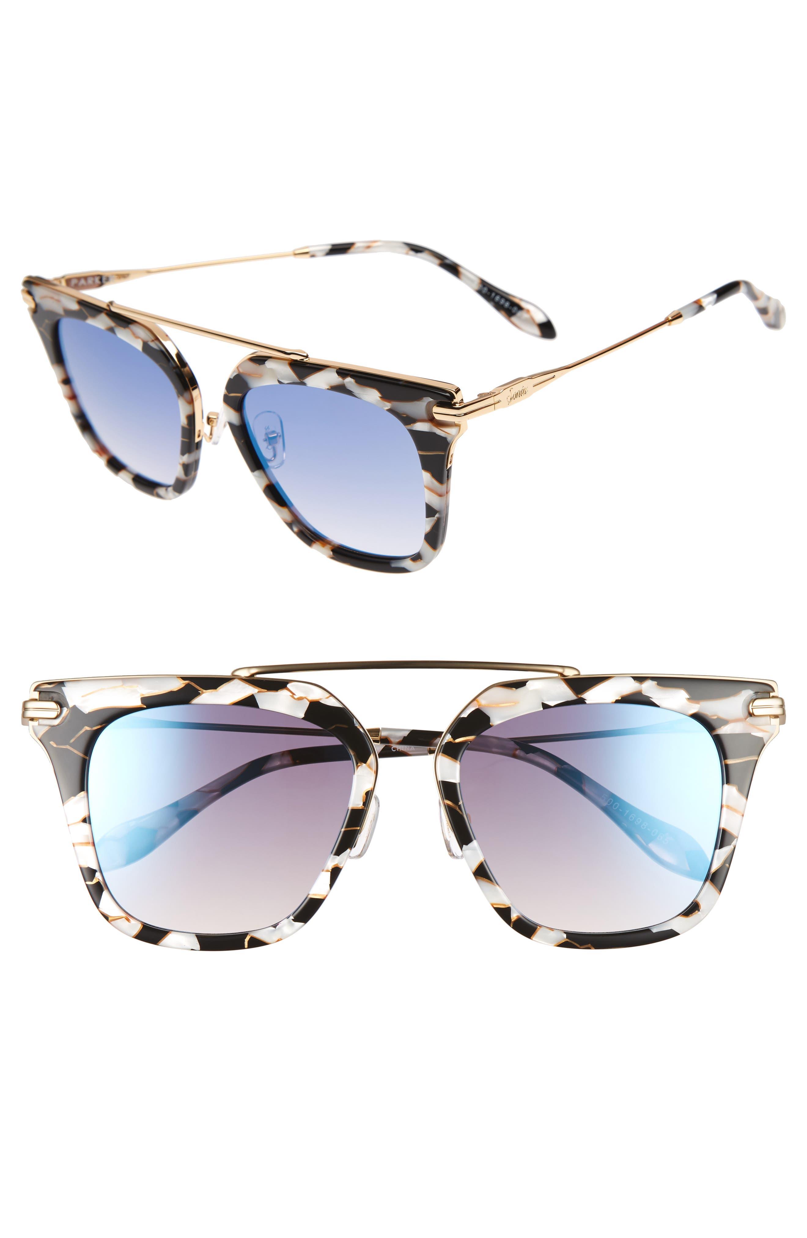 Parker 55mm Sunglasses,                             Main thumbnail 1, color,                             Luxe Marble/ Indigo Mirror