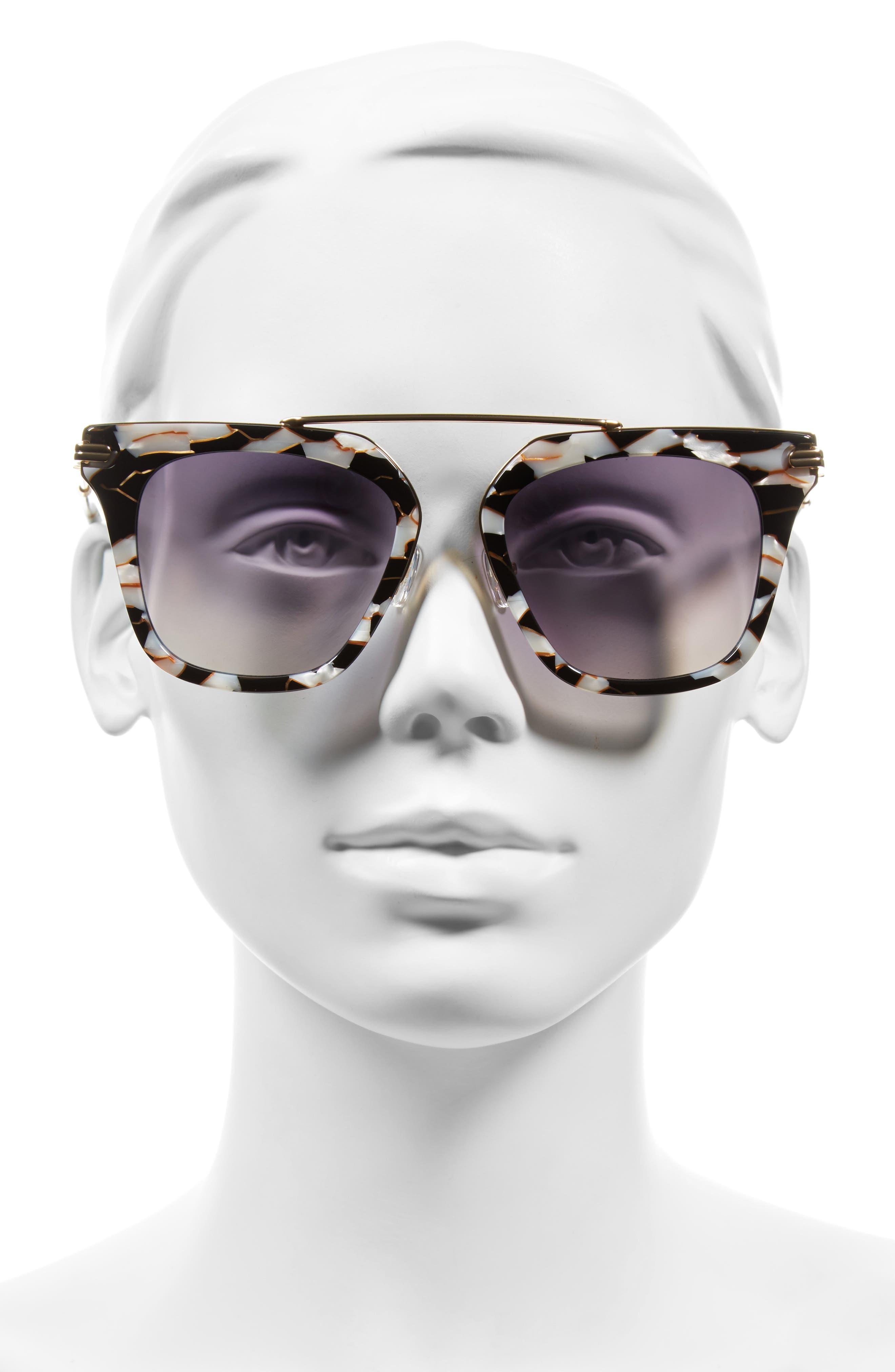 Parker 55mm Sunglasses,                             Alternate thumbnail 4, color,                             Luxe Marble/ Indigo Mirror