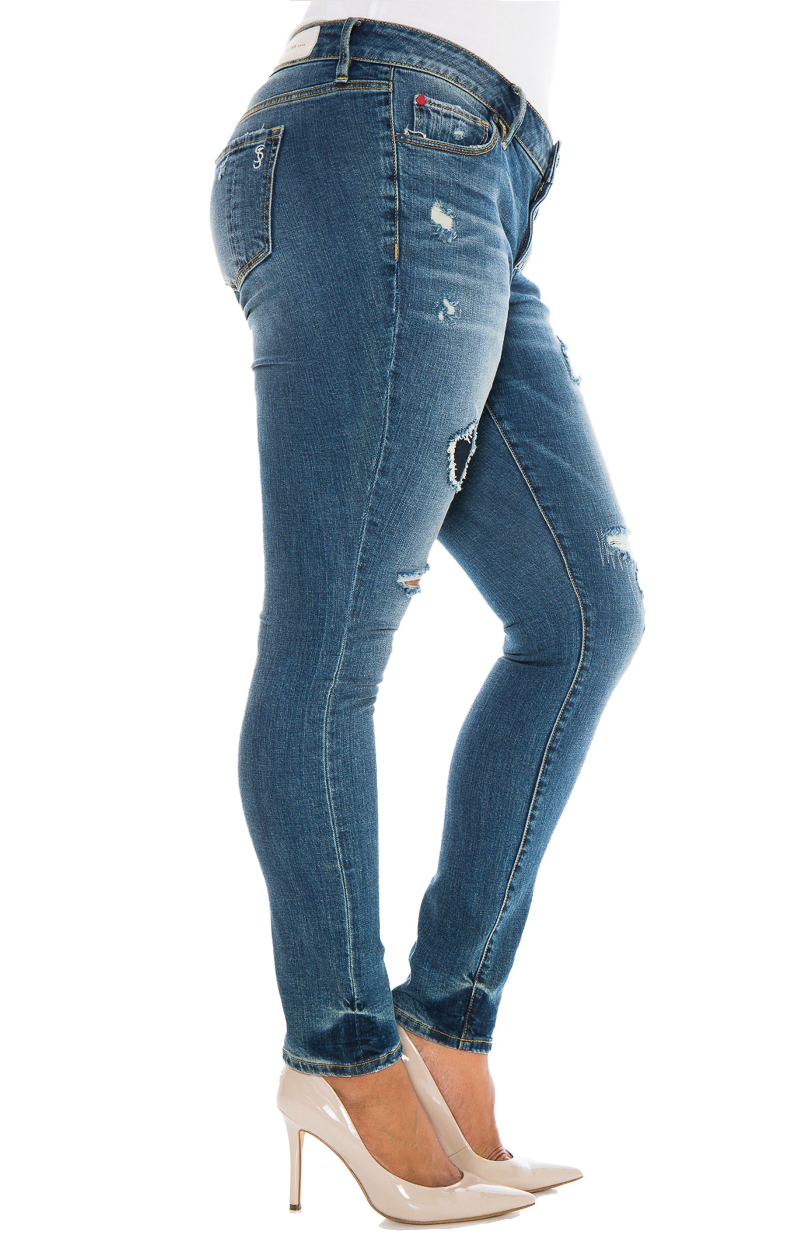 Alternate Image 4  - SLINK Jeans Ripped Skinny Jeans (Joby) (Plus Size)