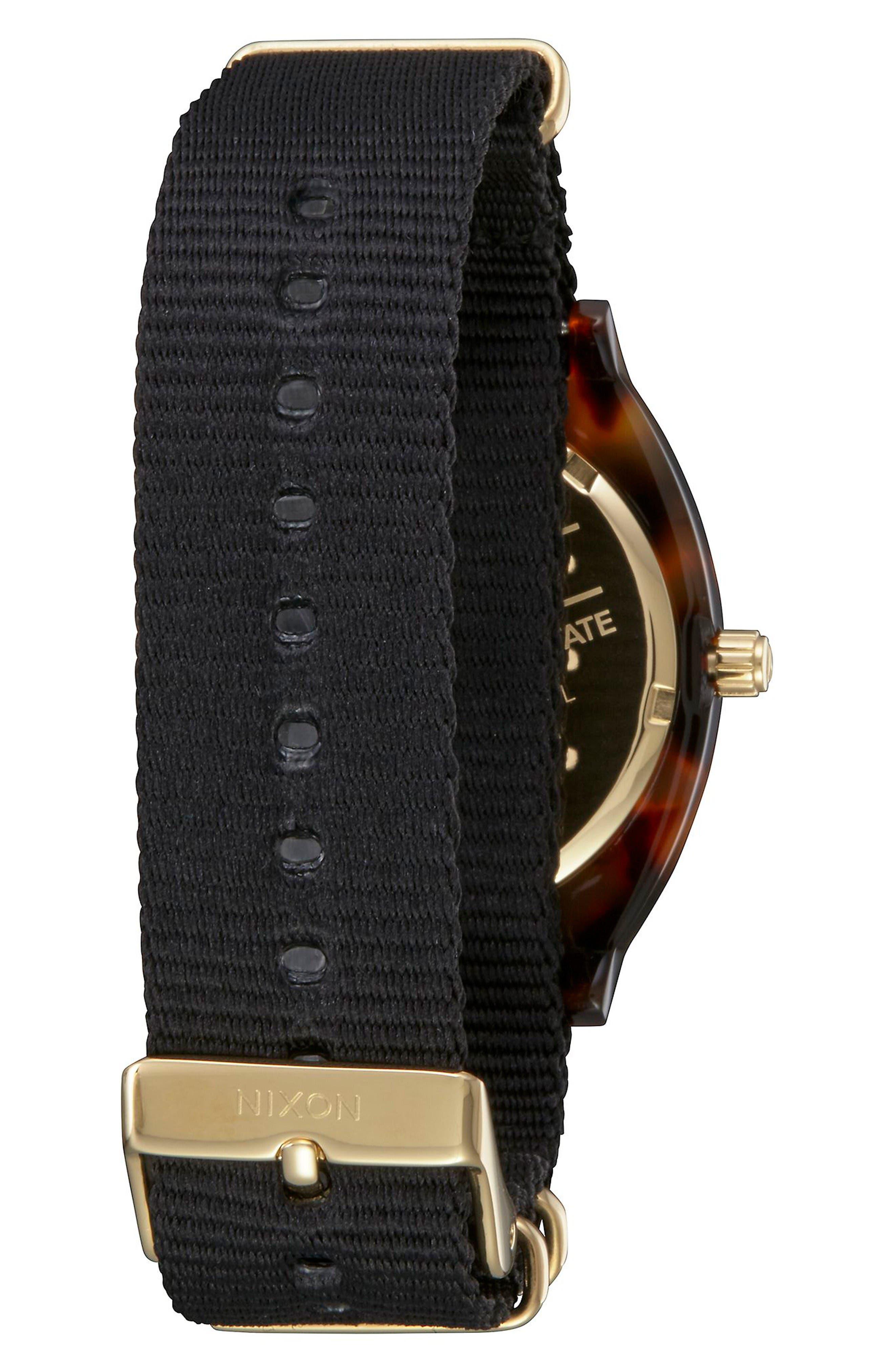 Time Teller Nylon Strap Watch, 40mm,                             Alternate thumbnail 2, color,                             Black/ Tortoise Acetate