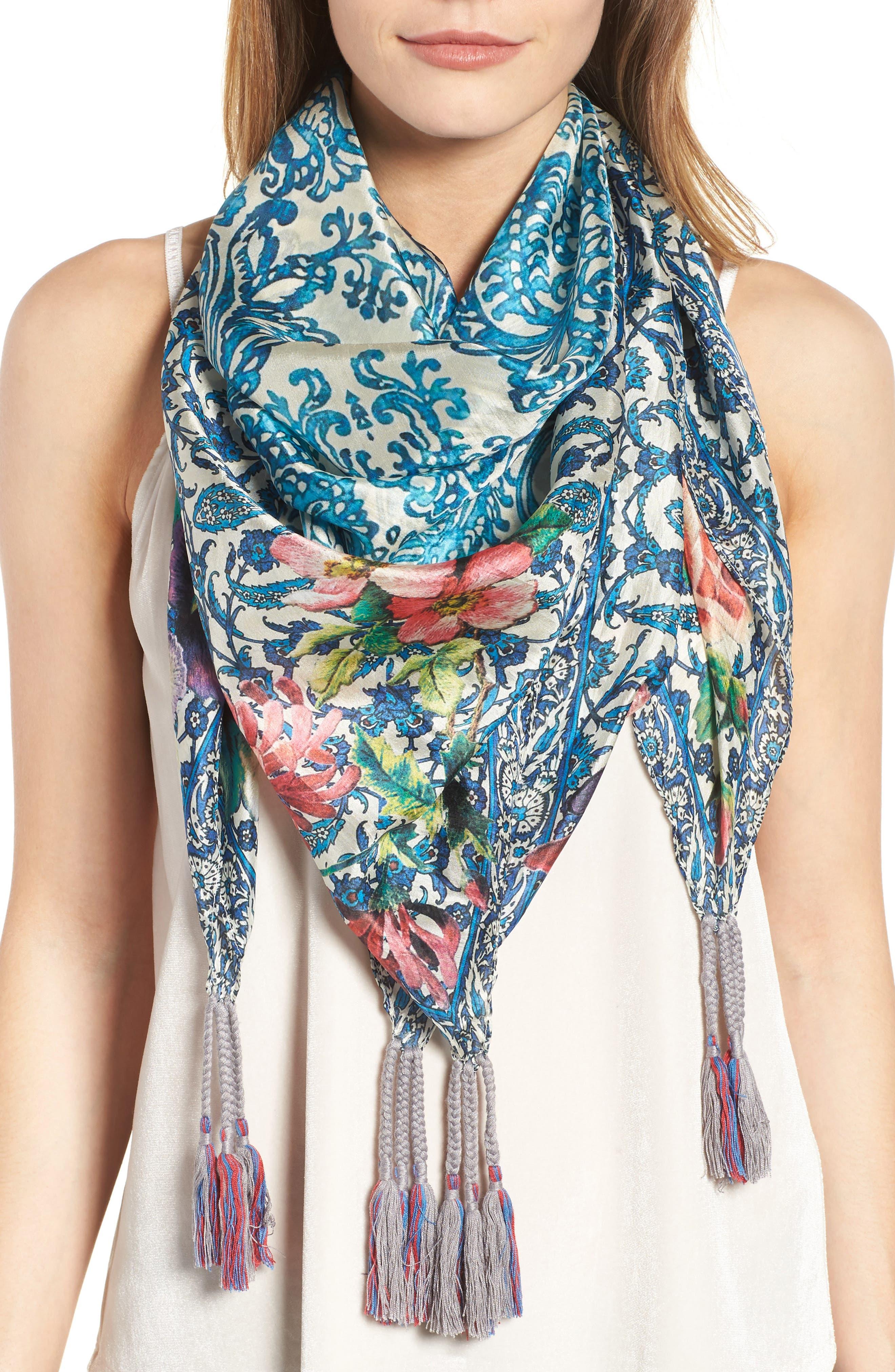 Horizon Print Square Silk Scarf,                         Main,                         color, Multi