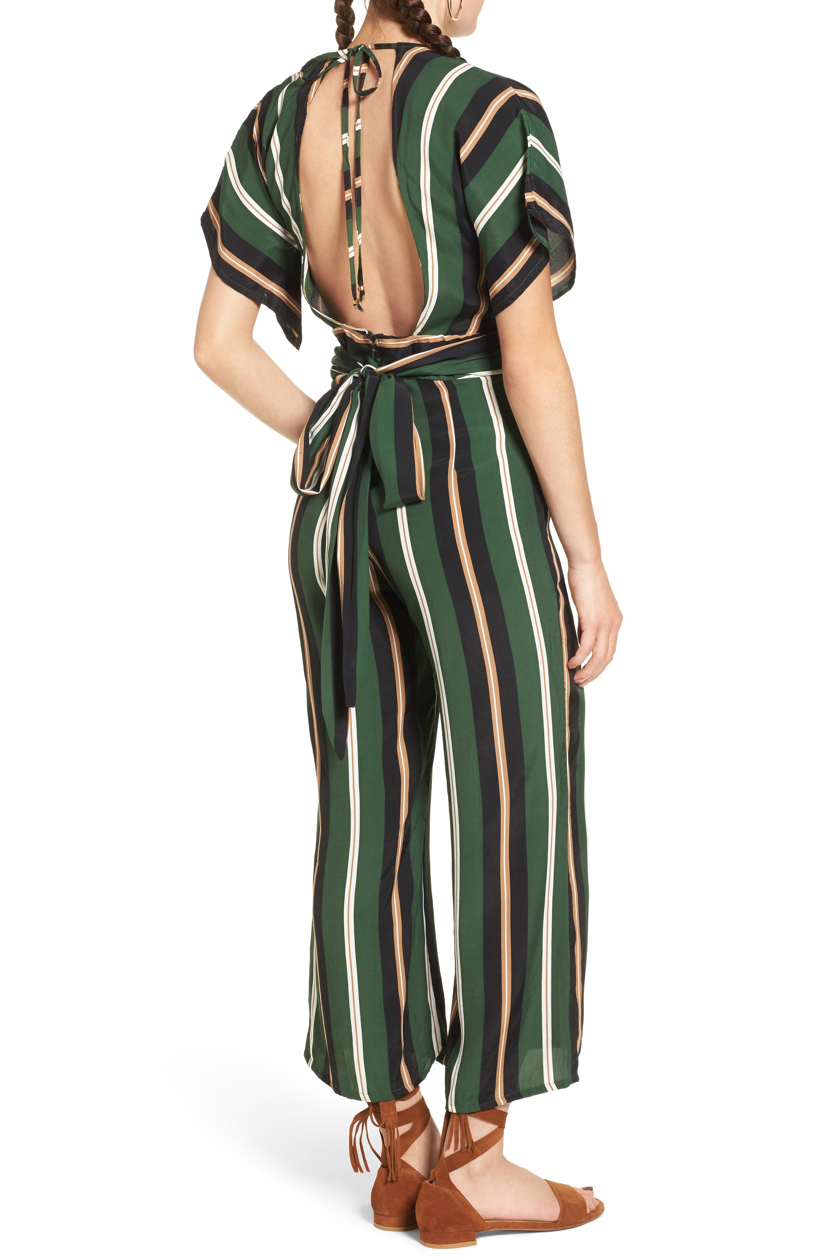 Cedric Jumpsuit,                             Alternate thumbnail 3, color,                             Firenze Stripes Green/Blk