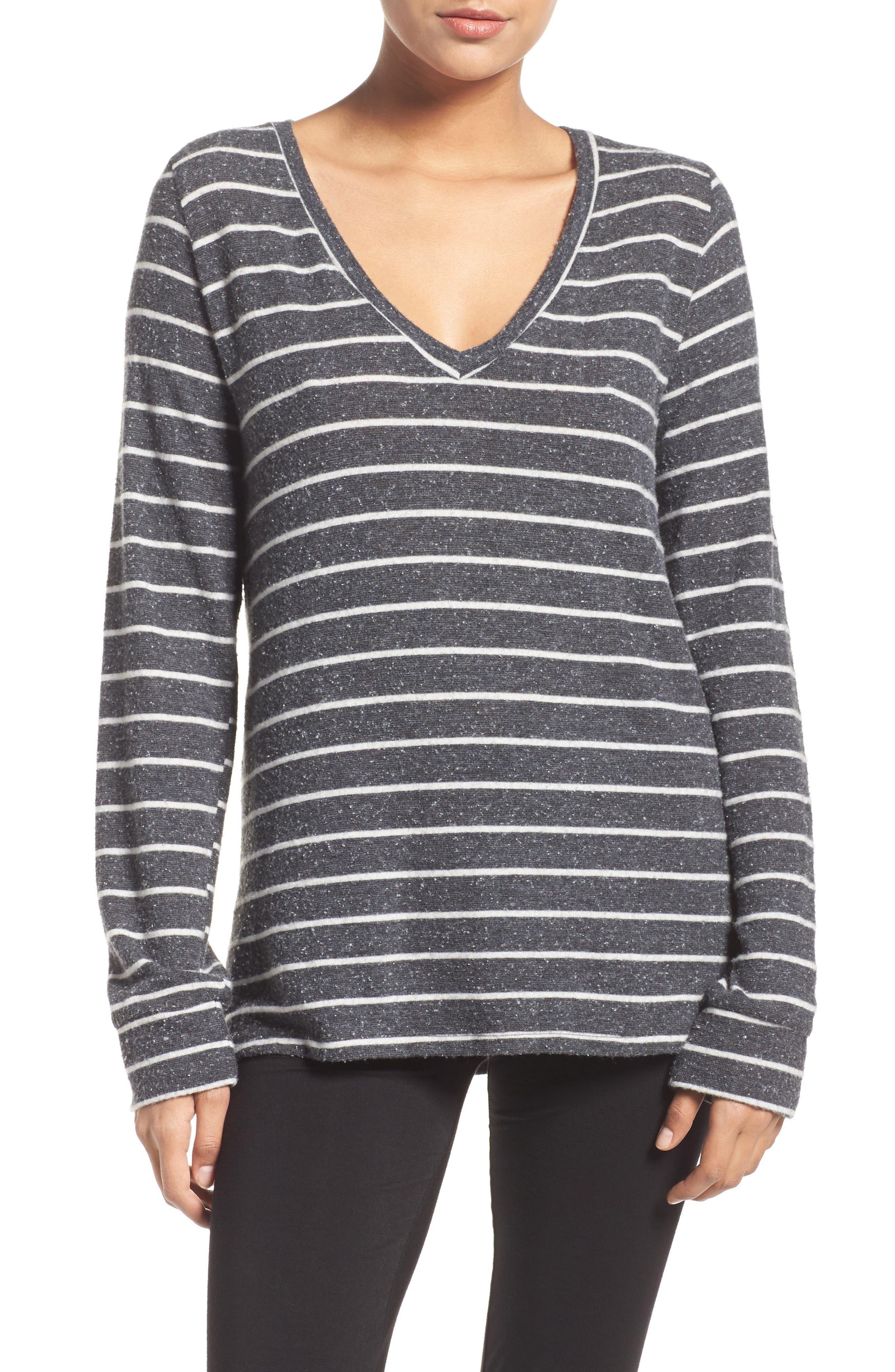 Wicus Lounge Top,                         Main,                         color, Black/ White Stripe