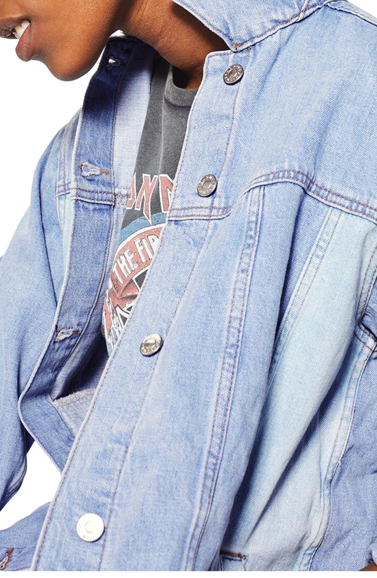 Alternate Image 5  - Topshop Colorblock Denim Jacket