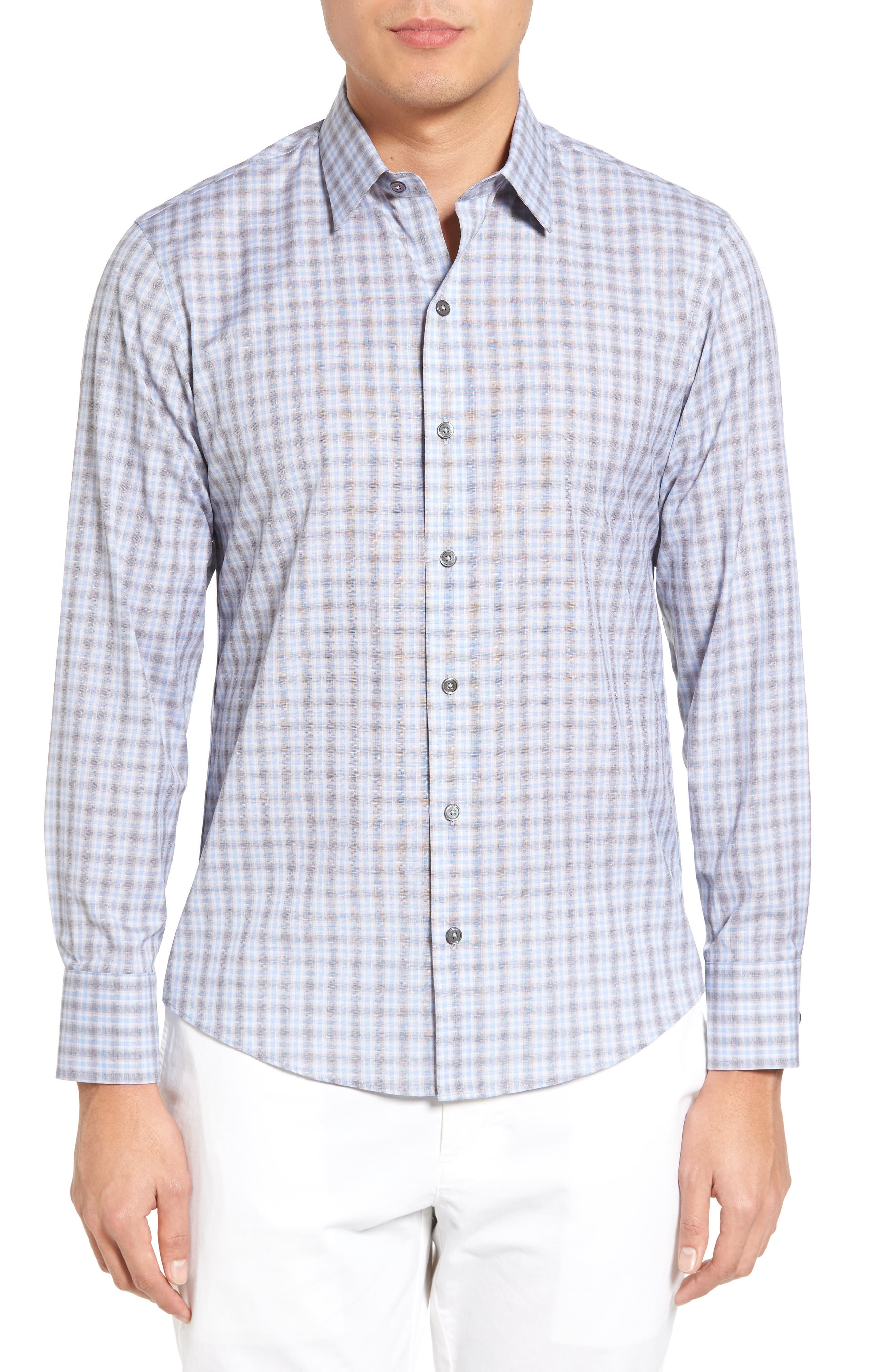 Cristiano Trim Fit Plaid Sport Shirt,                         Main,                         color, Grey