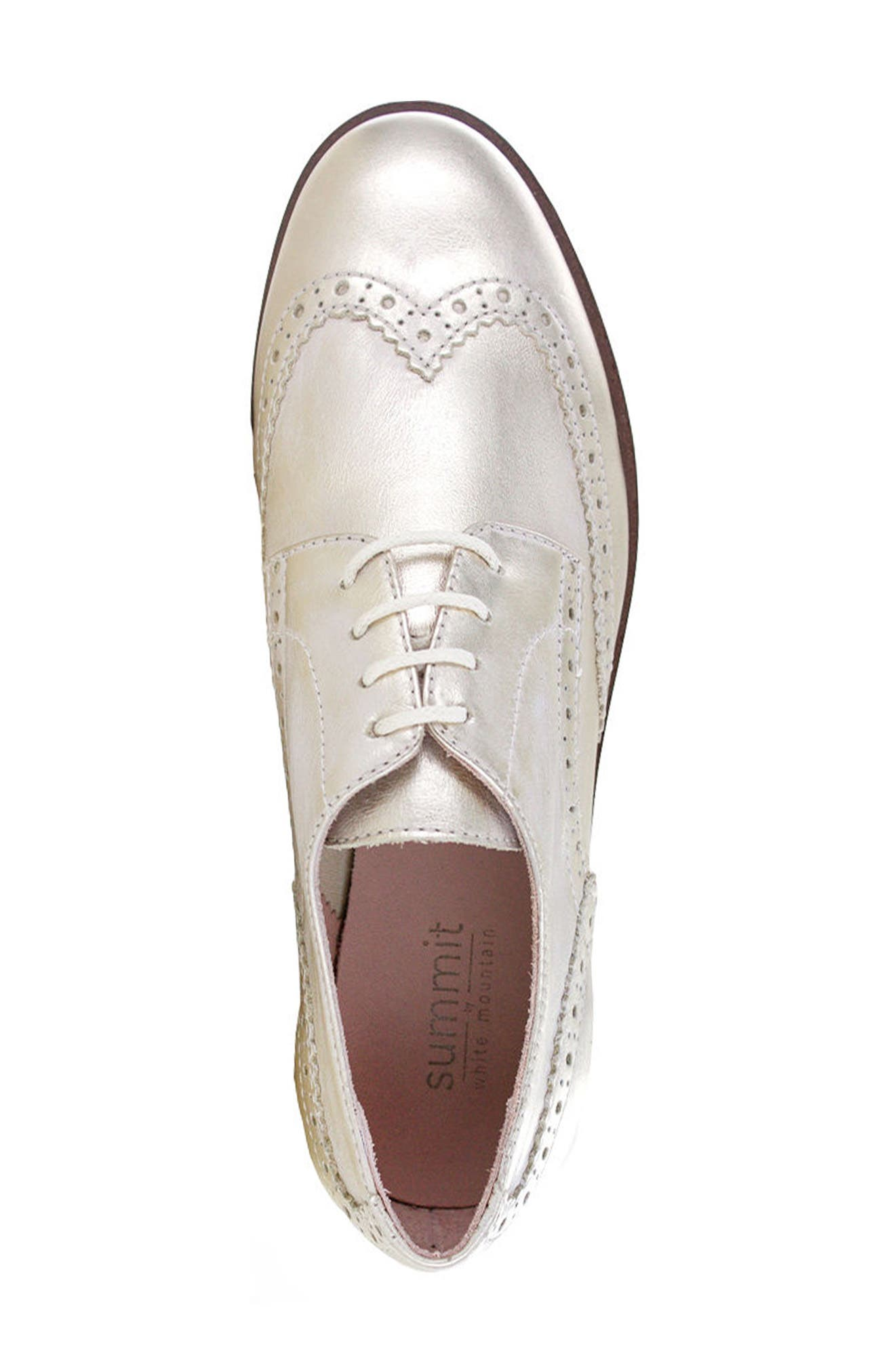 Dawson Oxford Flat,                             Alternate thumbnail 3, color,                             Platinum Leather