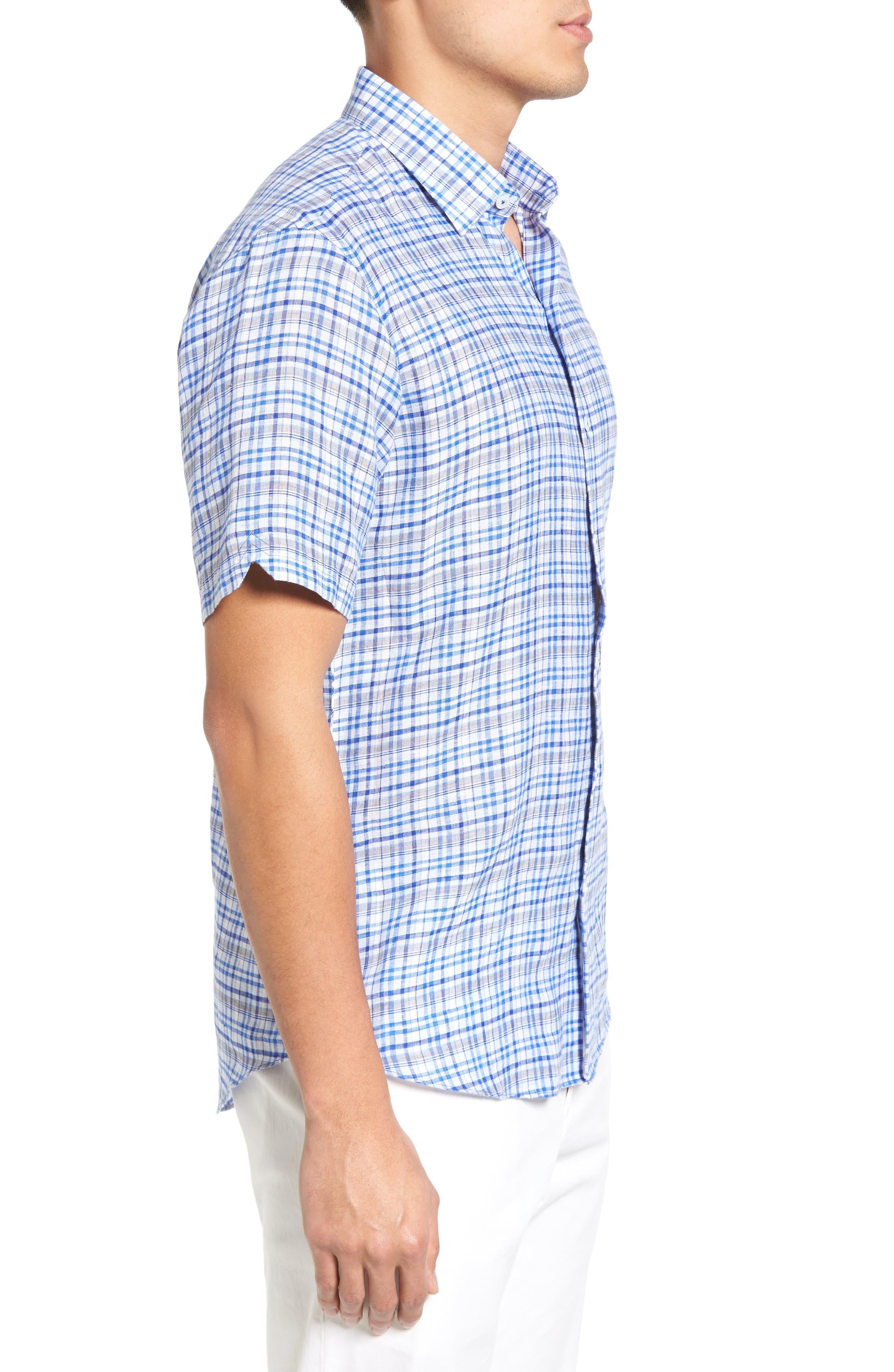 Bean Trim Fit Plaid Linen Sport Shirt,                             Alternate thumbnail 3, color,                             Royal