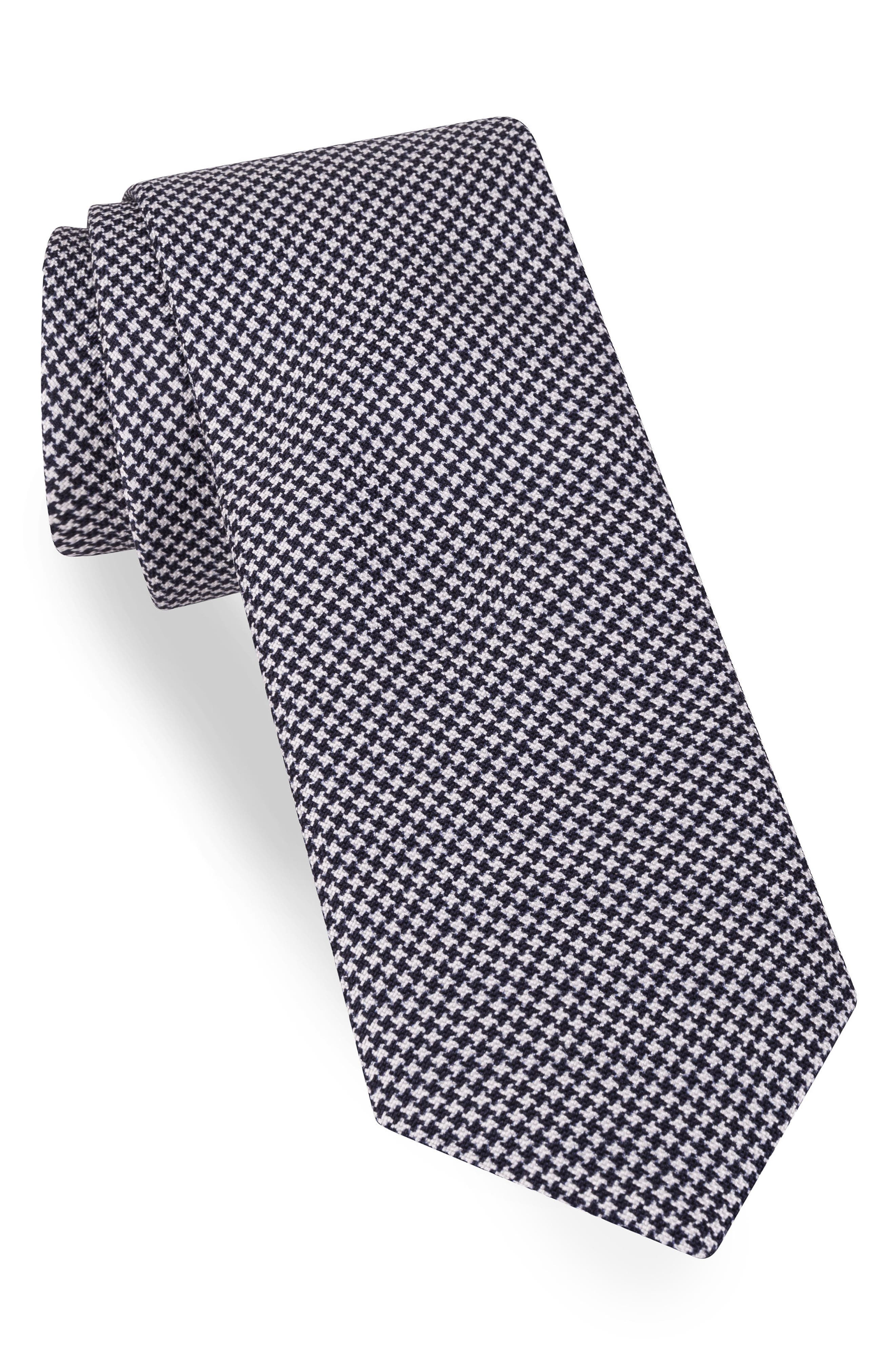 Solid Silk Skinny Tie,                         Main,                         color, Navy Houndstooth
