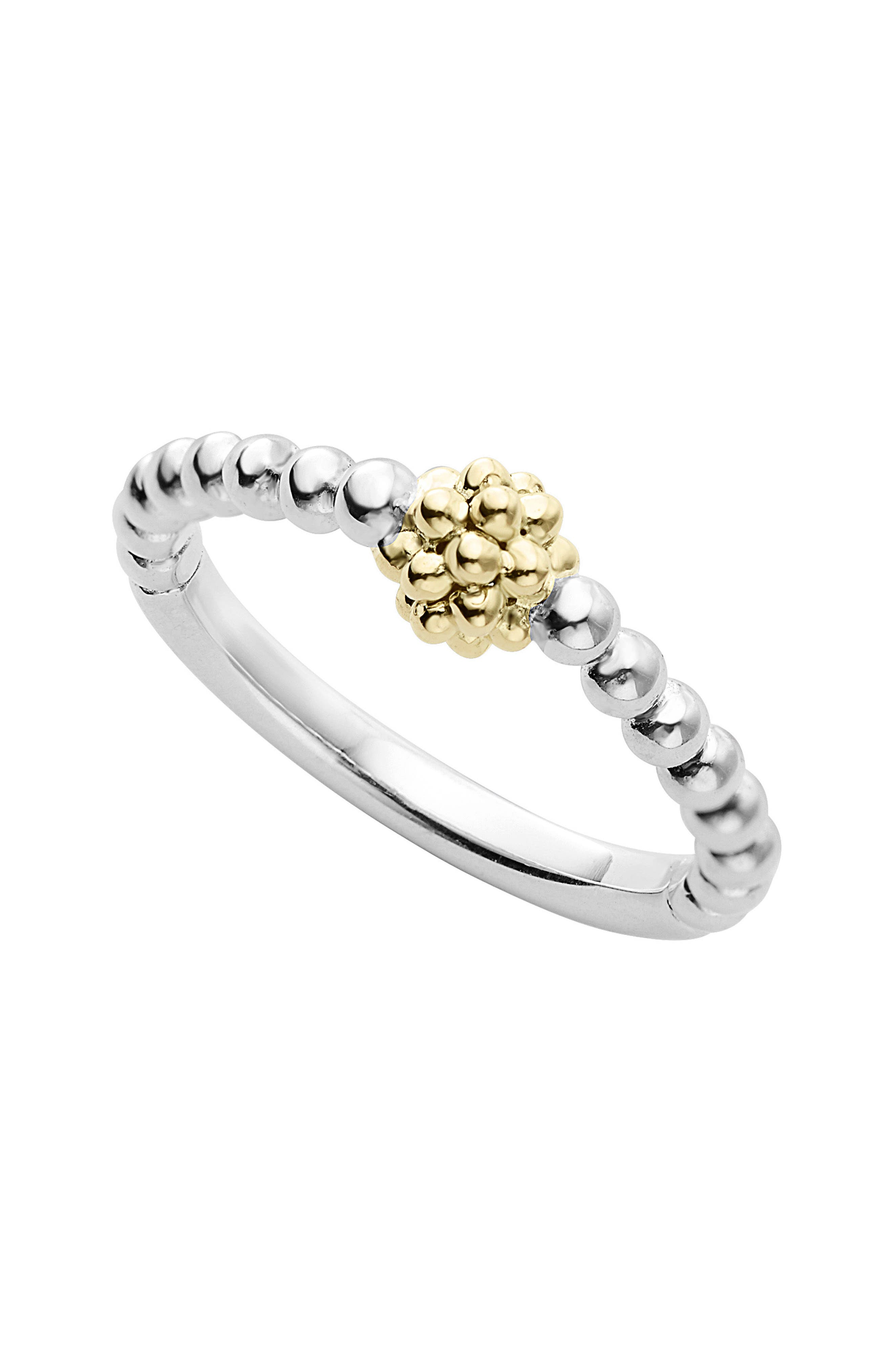 Caviar Icon Stacking Ring,                         Main,                         color, Silver/ Gold