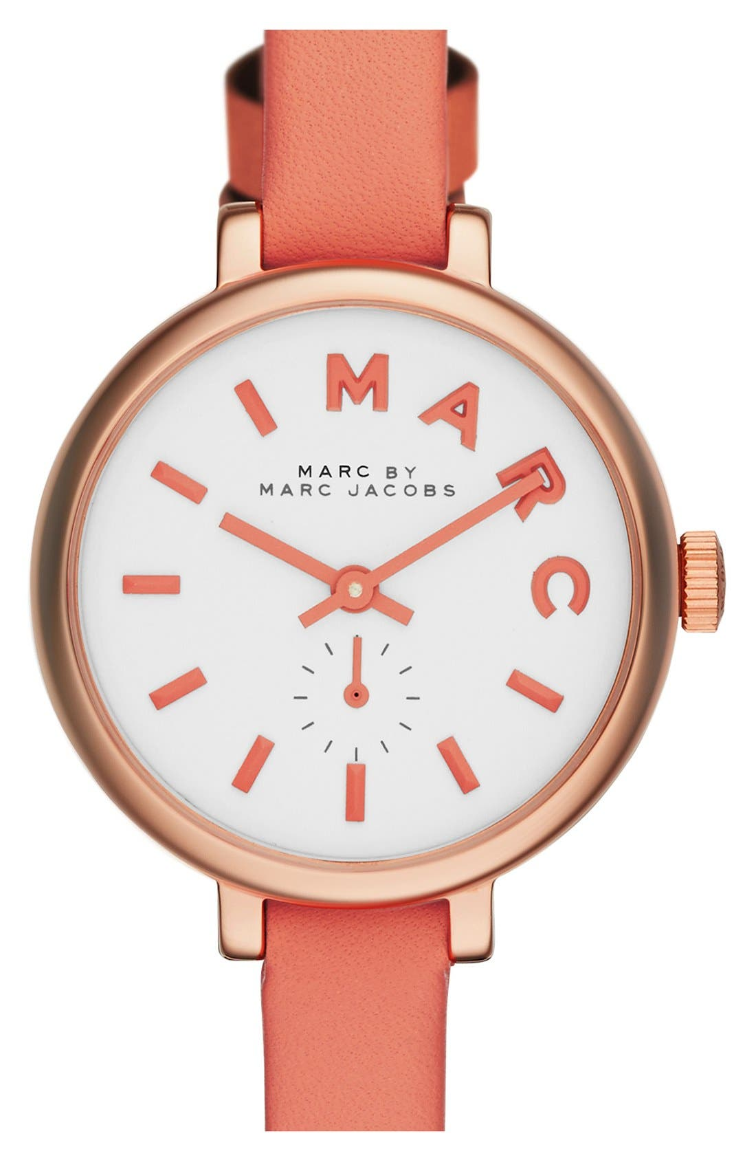 Main Image - MARC JACOBS 'Sally' Round Leather Strap Watch, 28mm