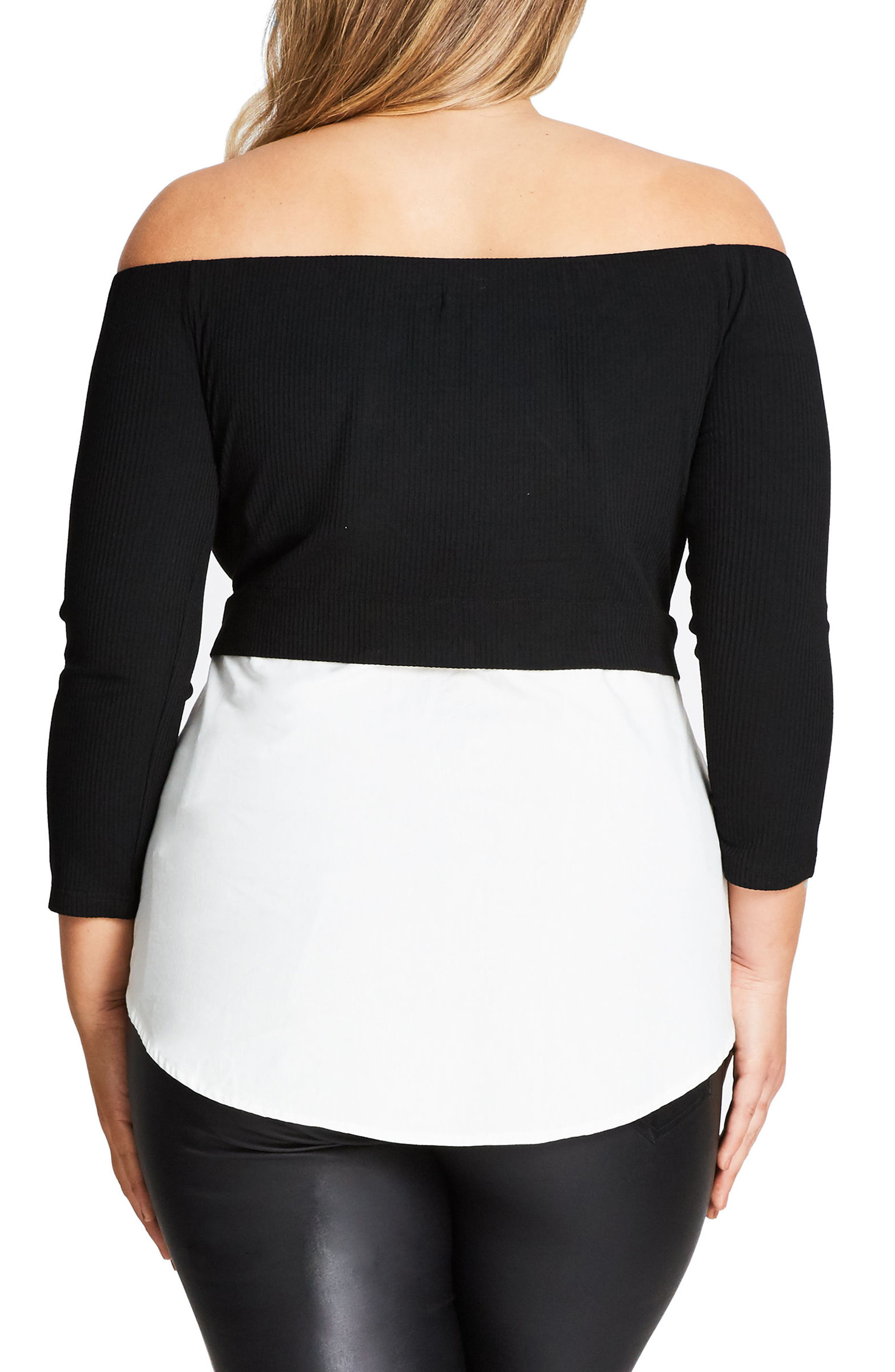 Layer Look Off the Shoulder Top,                             Alternate thumbnail 2, color,                             Black