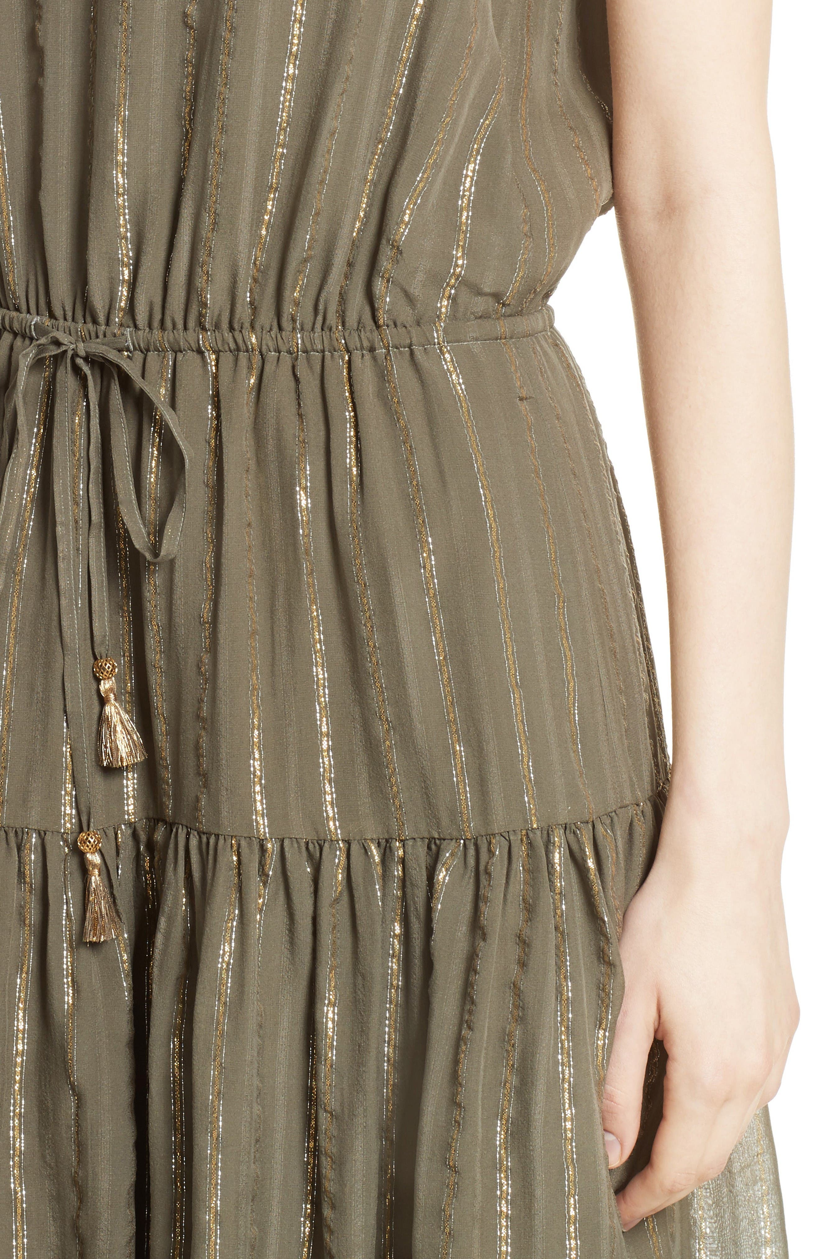 Alternate Image 4  - Joie Klea Metallic Stripe Silk Midi Dress