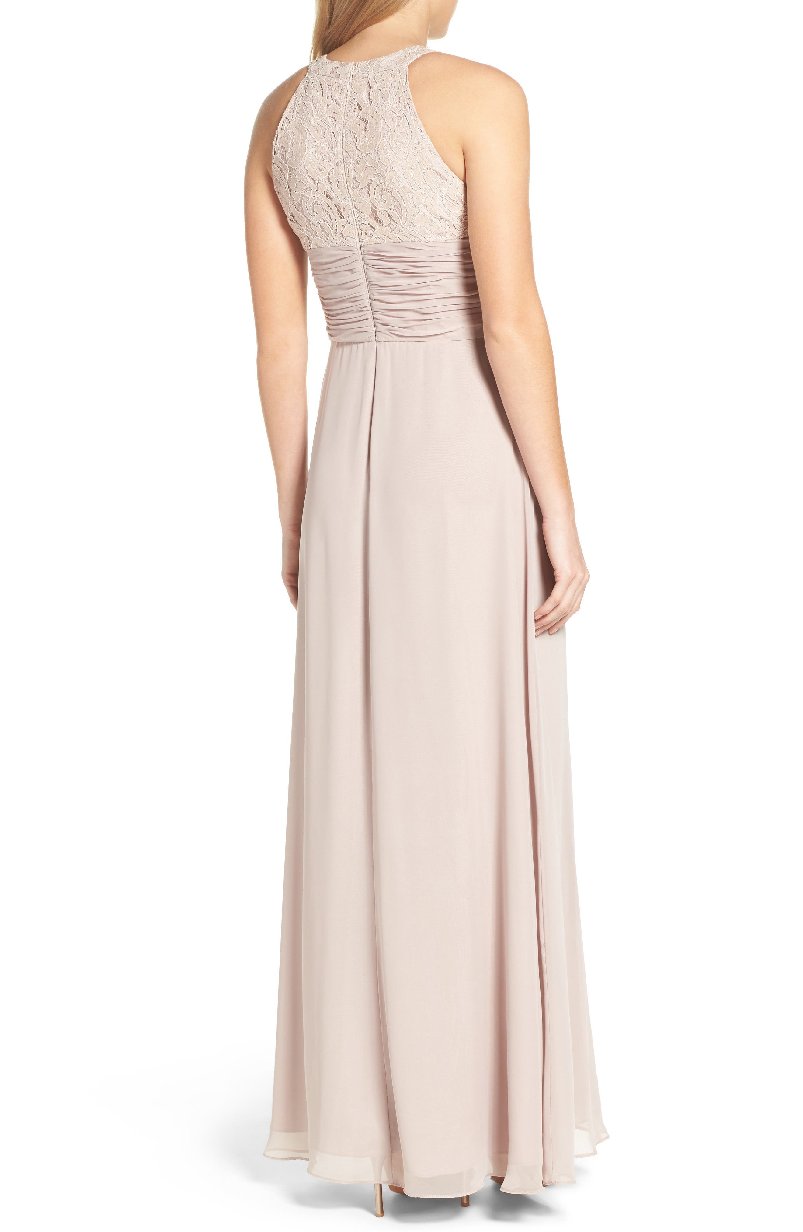 Alternate Image 2  - Eliza J Beaded Lace & Chiffon Gown