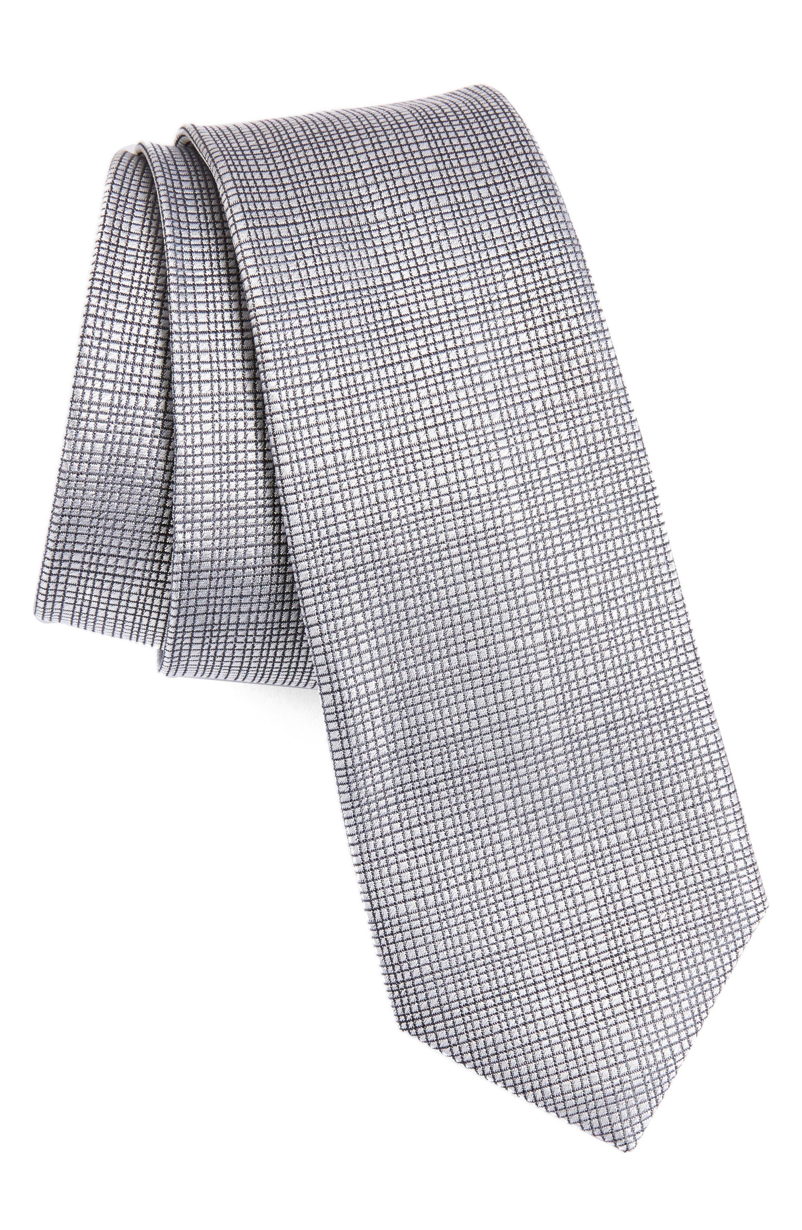 Saffron Solid Silk Skinny Tie,                             Main thumbnail 1, color,                             Silver