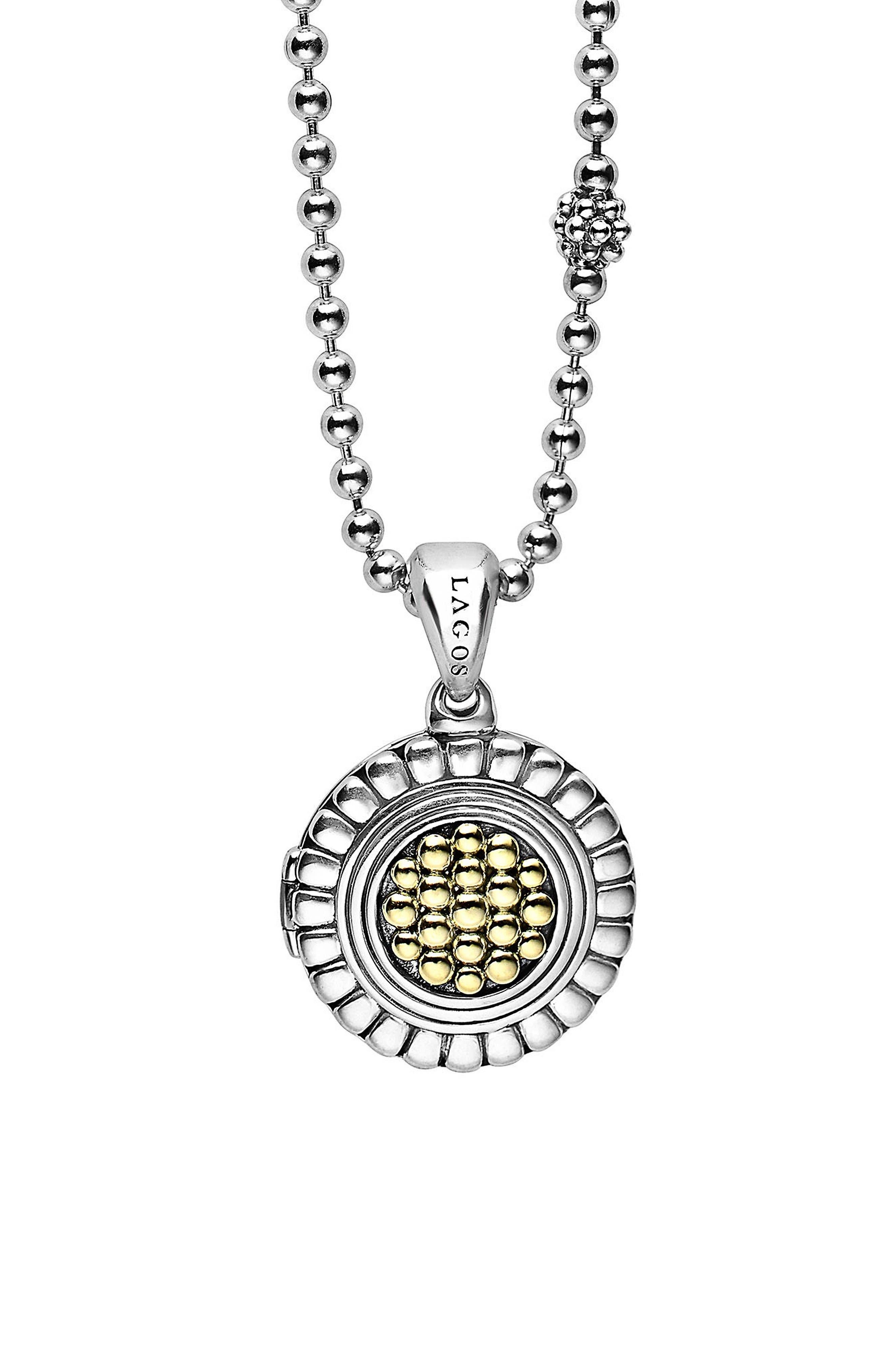 Beloved Locket Pendant Necklace,                         Main,                         color, Silver/ Gold