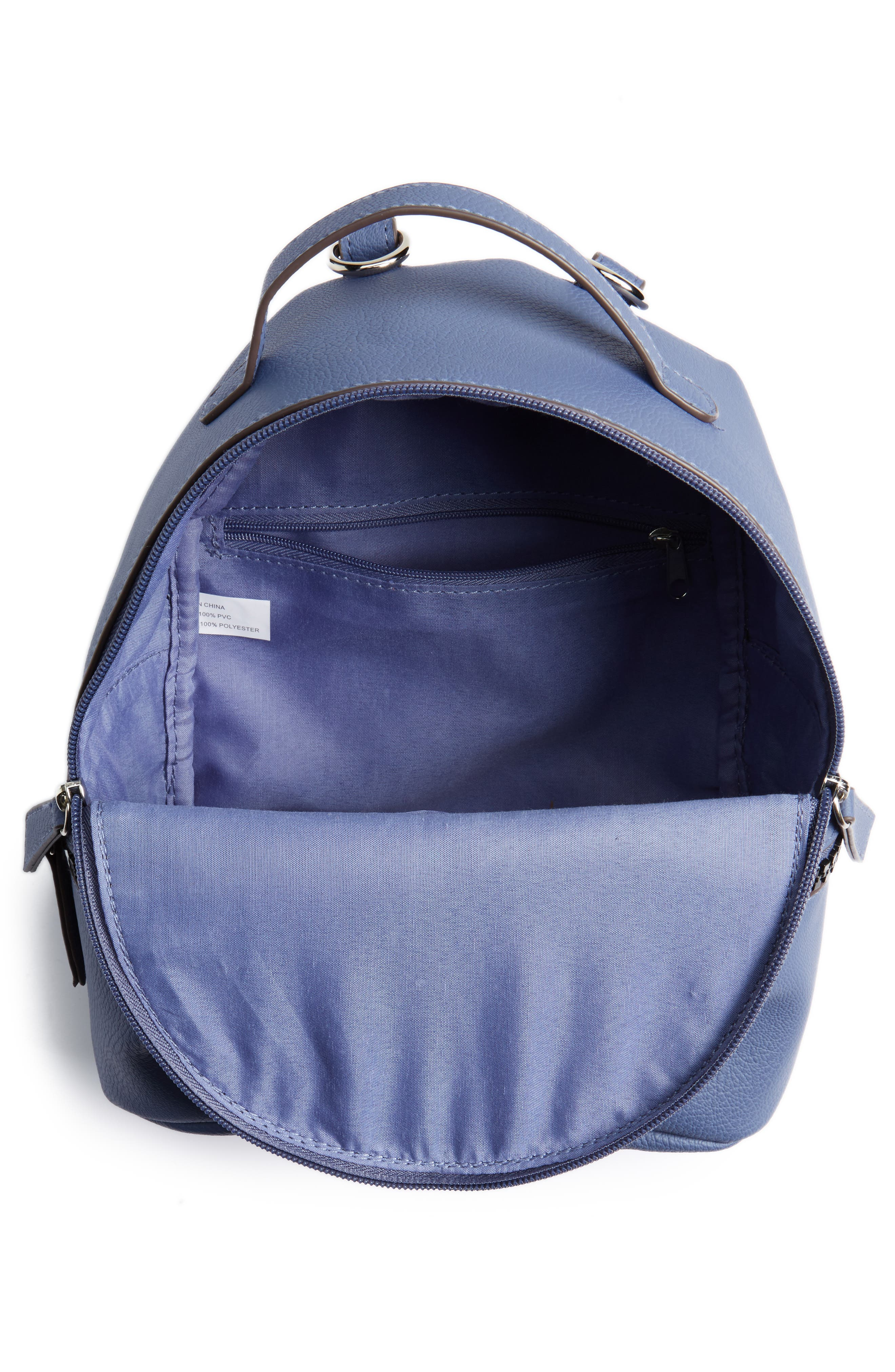 Textured Faux Leather Mini Backpack,                             Alternate thumbnail 4, color,                             Blue