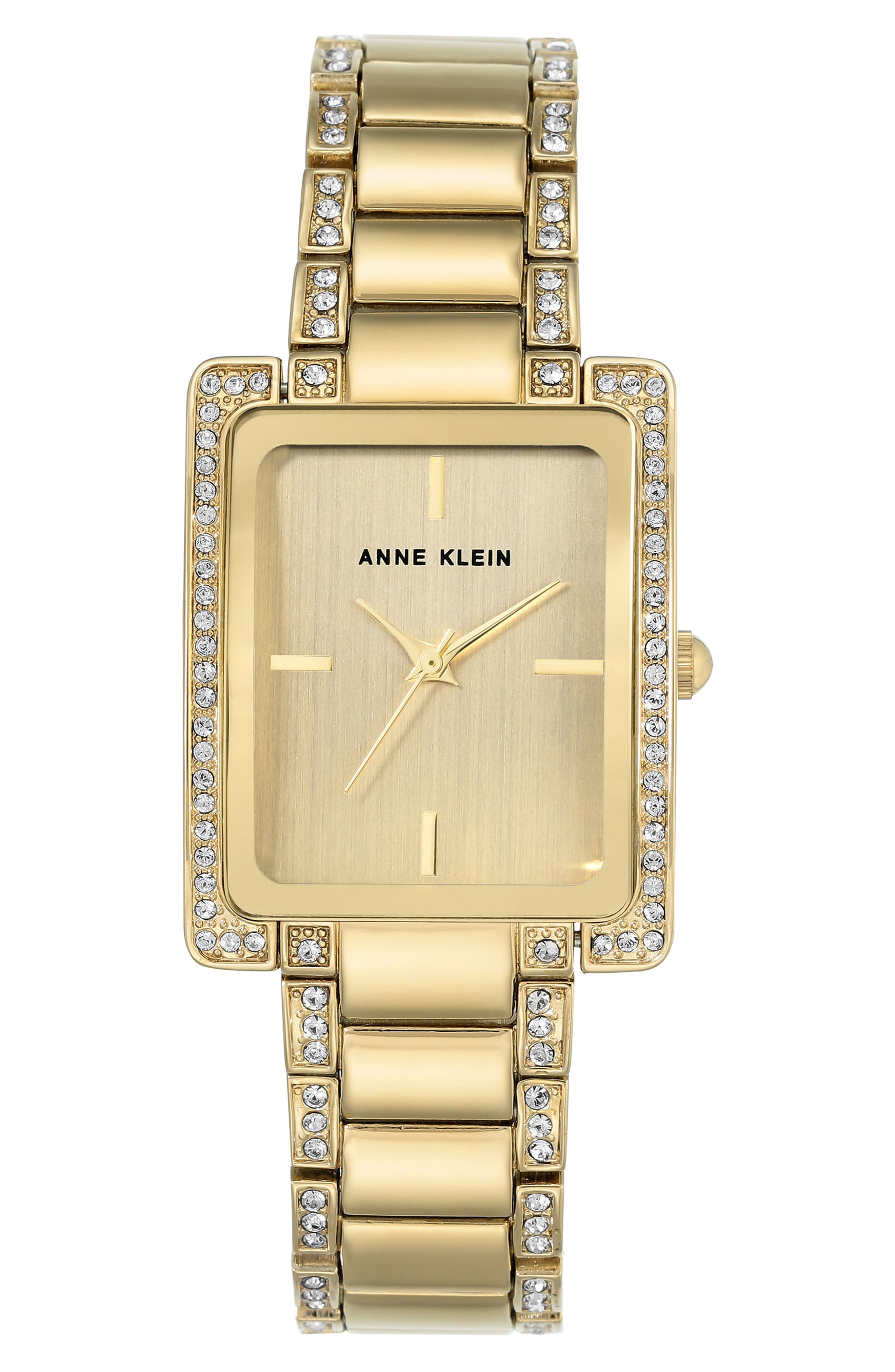 Crystal Bracelet Watch, 28mm x 35mm,                             Main thumbnail 1, color,                             Gold