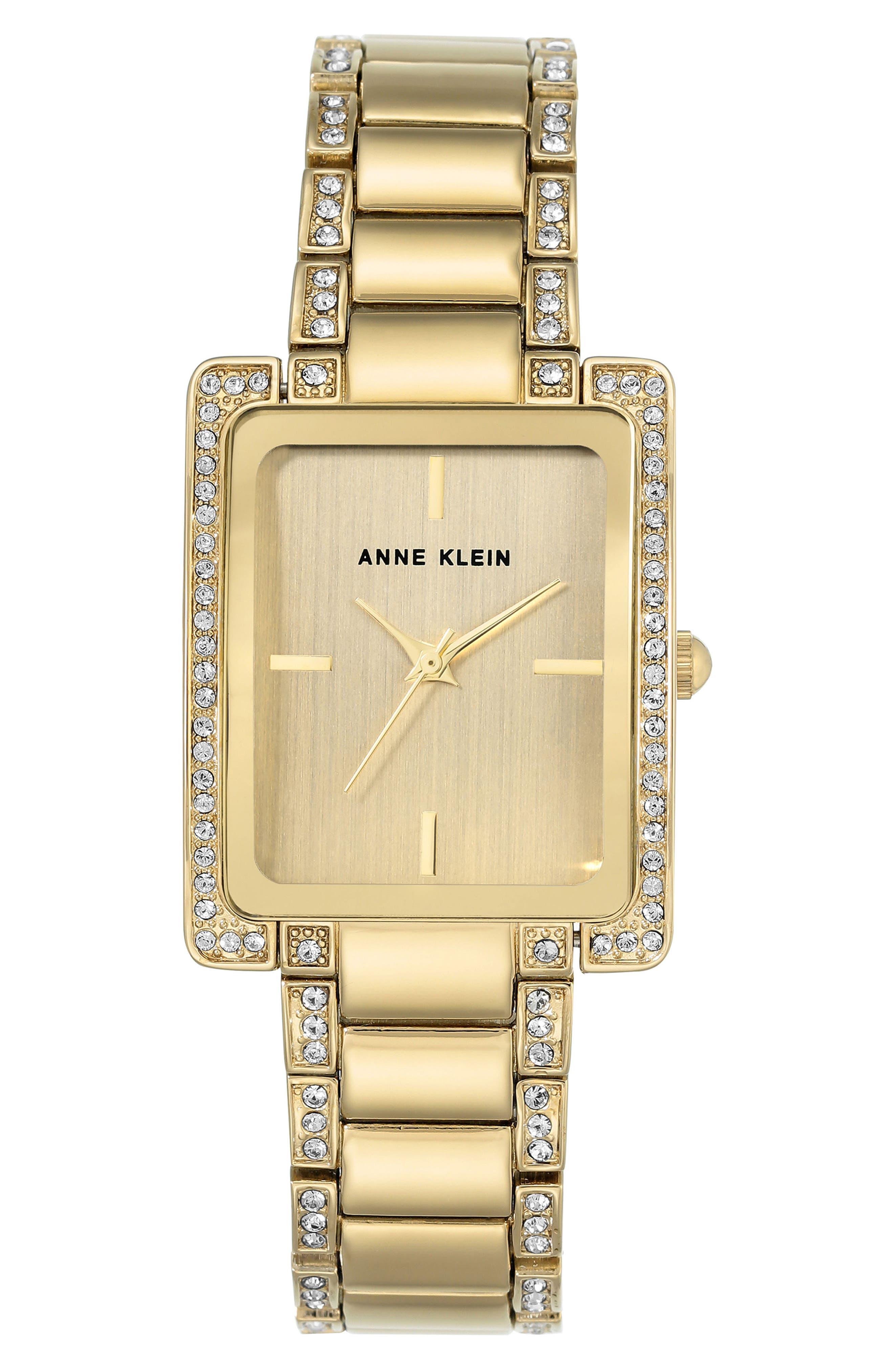 Anne Klein Crystal Bracelet Watch, 28mm x 35mm