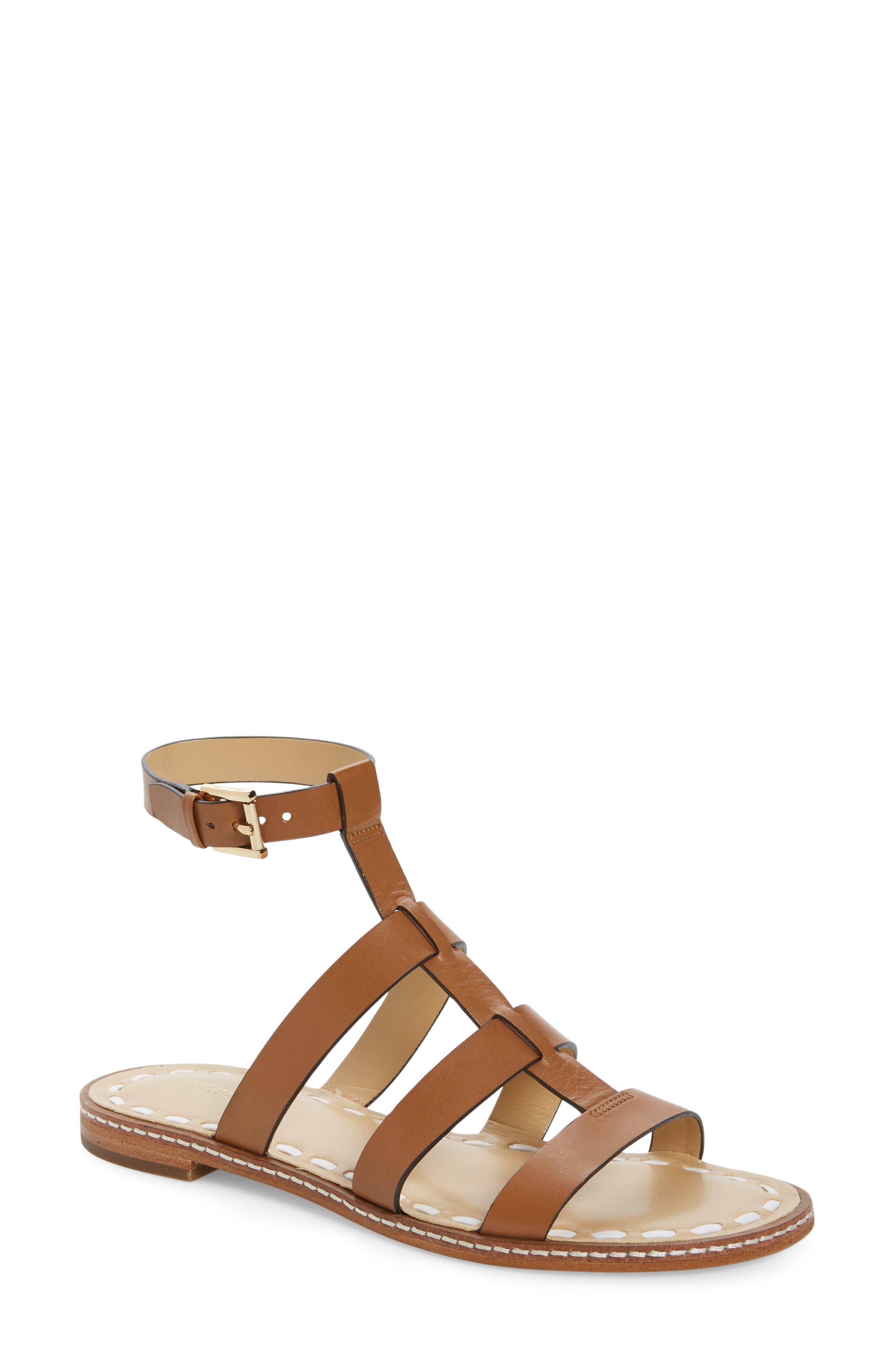 Fallon Gladiator Sandal,                             Main thumbnail 1, color,                             Acorn/ White Leather