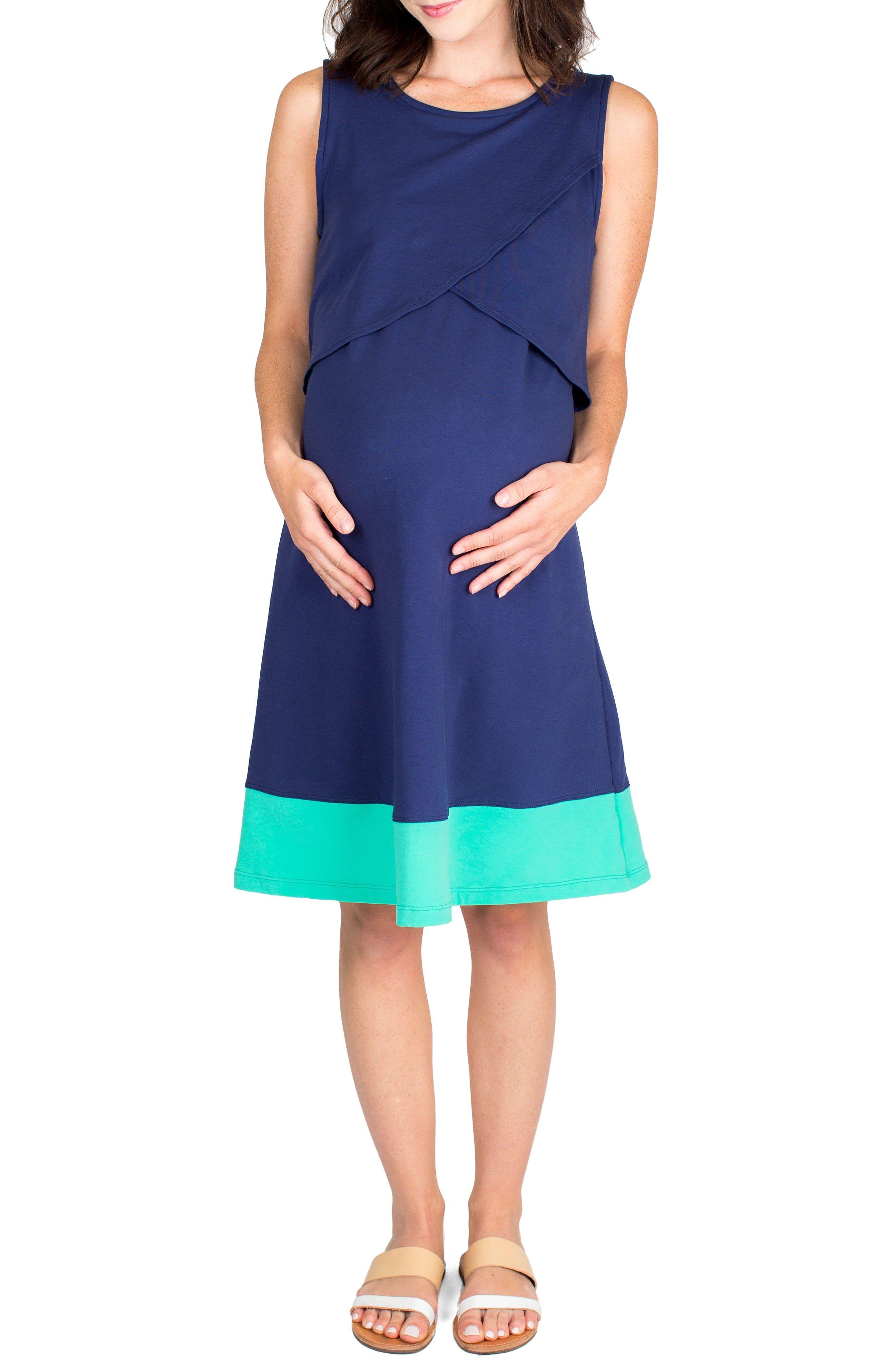 Sophia Maternity/Nursing Dress,                         Main,                         color, Navy/ Mint