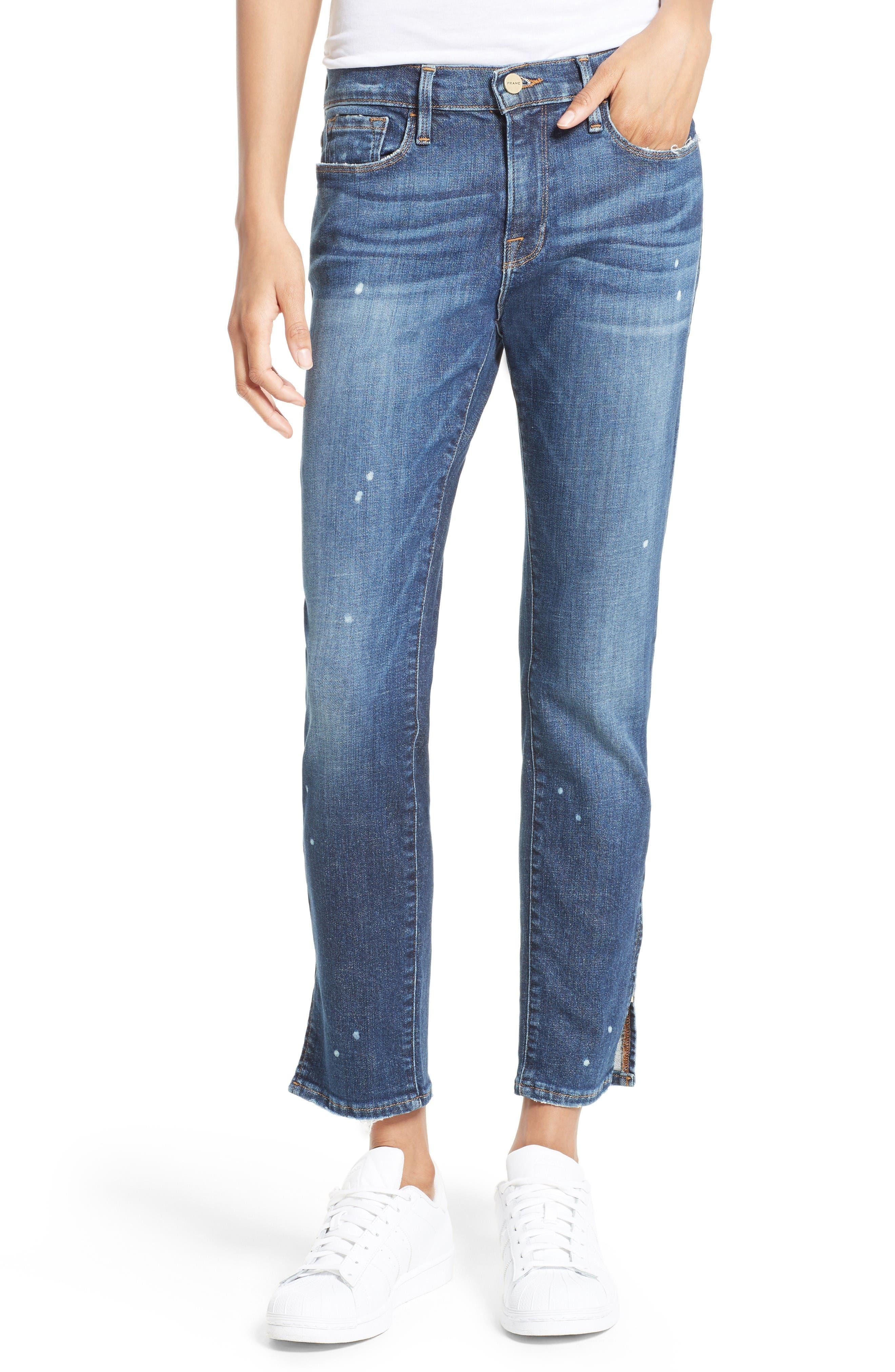Main Image - FRAME Le Garcon Slim Zip Hem Jeans (Marion)