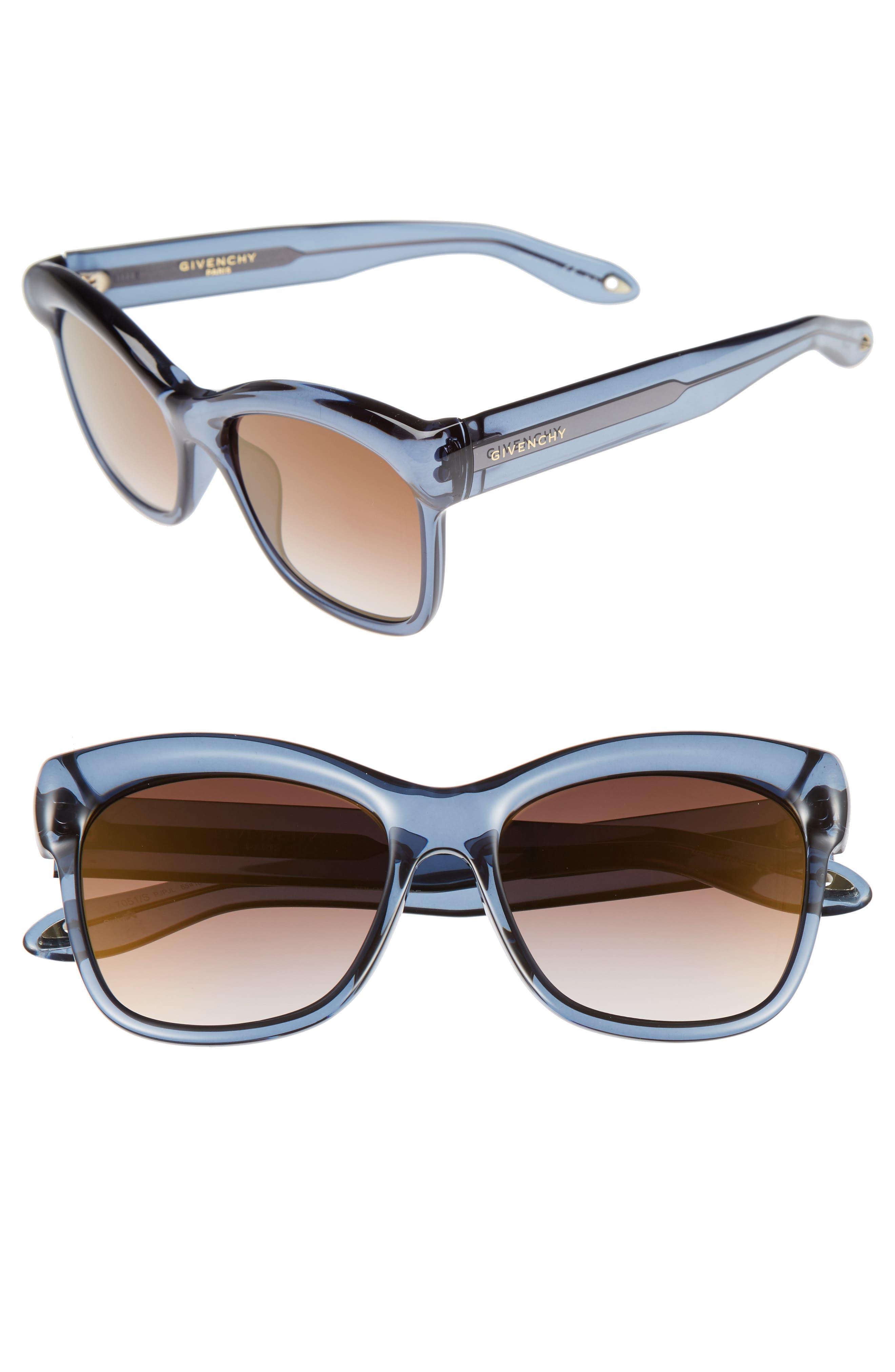 55mm Retro Sunglasses,                             Main thumbnail 1, color,                             Blue