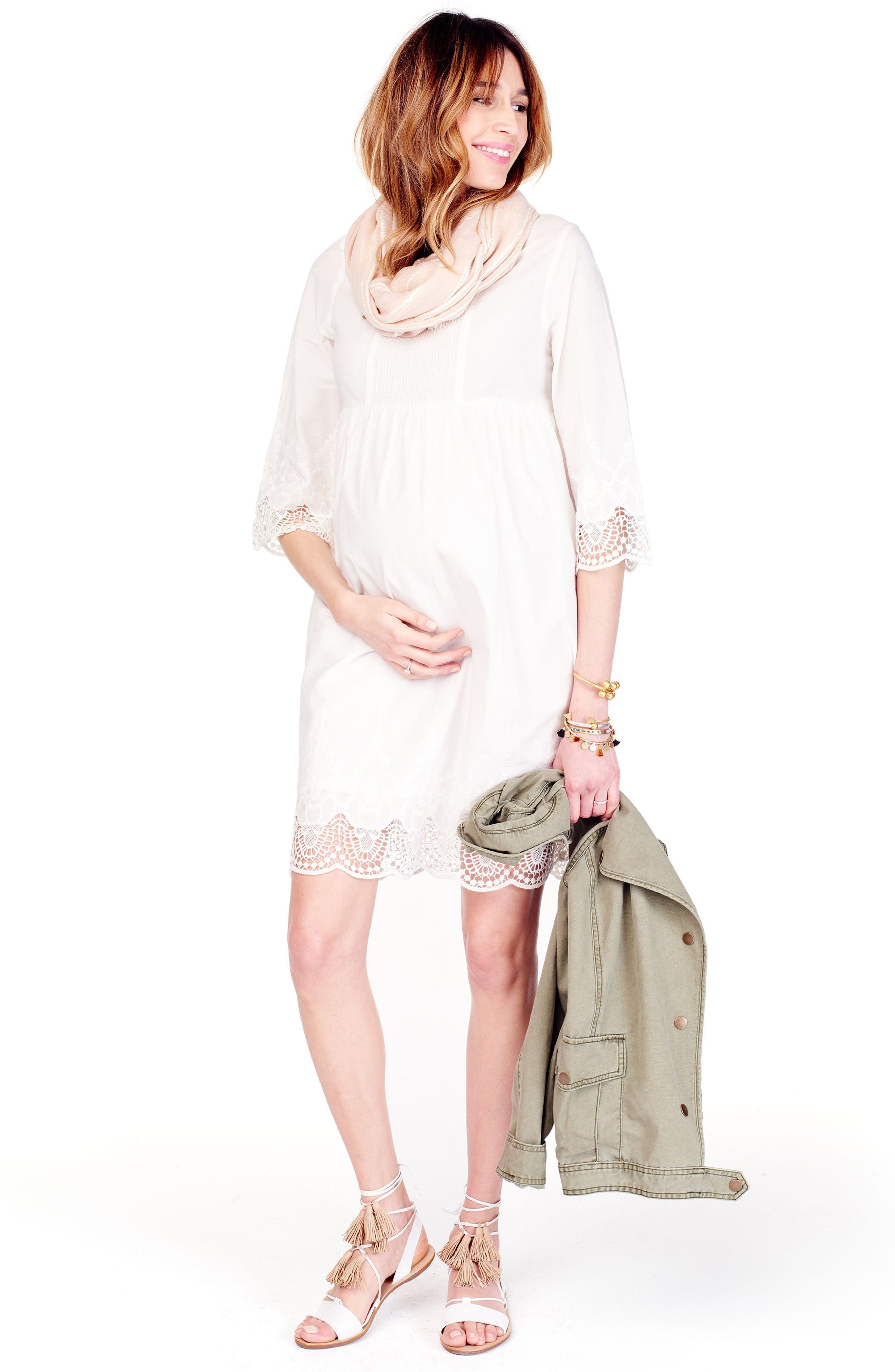 Alternate Image 2  - Ingrid & Isabel® Lace Trim Maternity Dress
