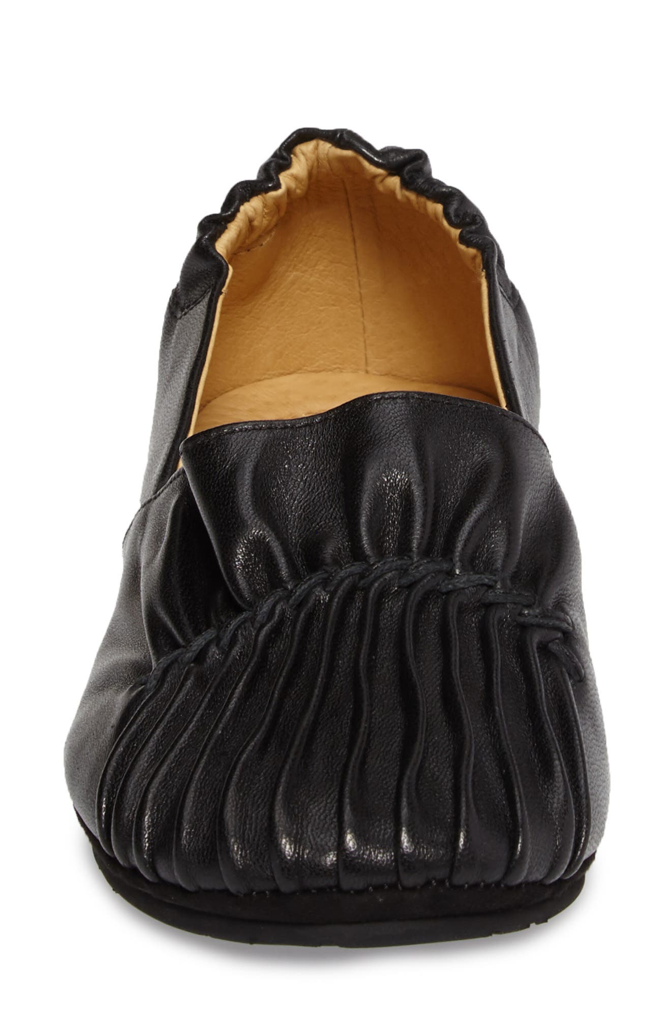 Seamed Flat,                             Alternate thumbnail 4, color,                             Black Leather