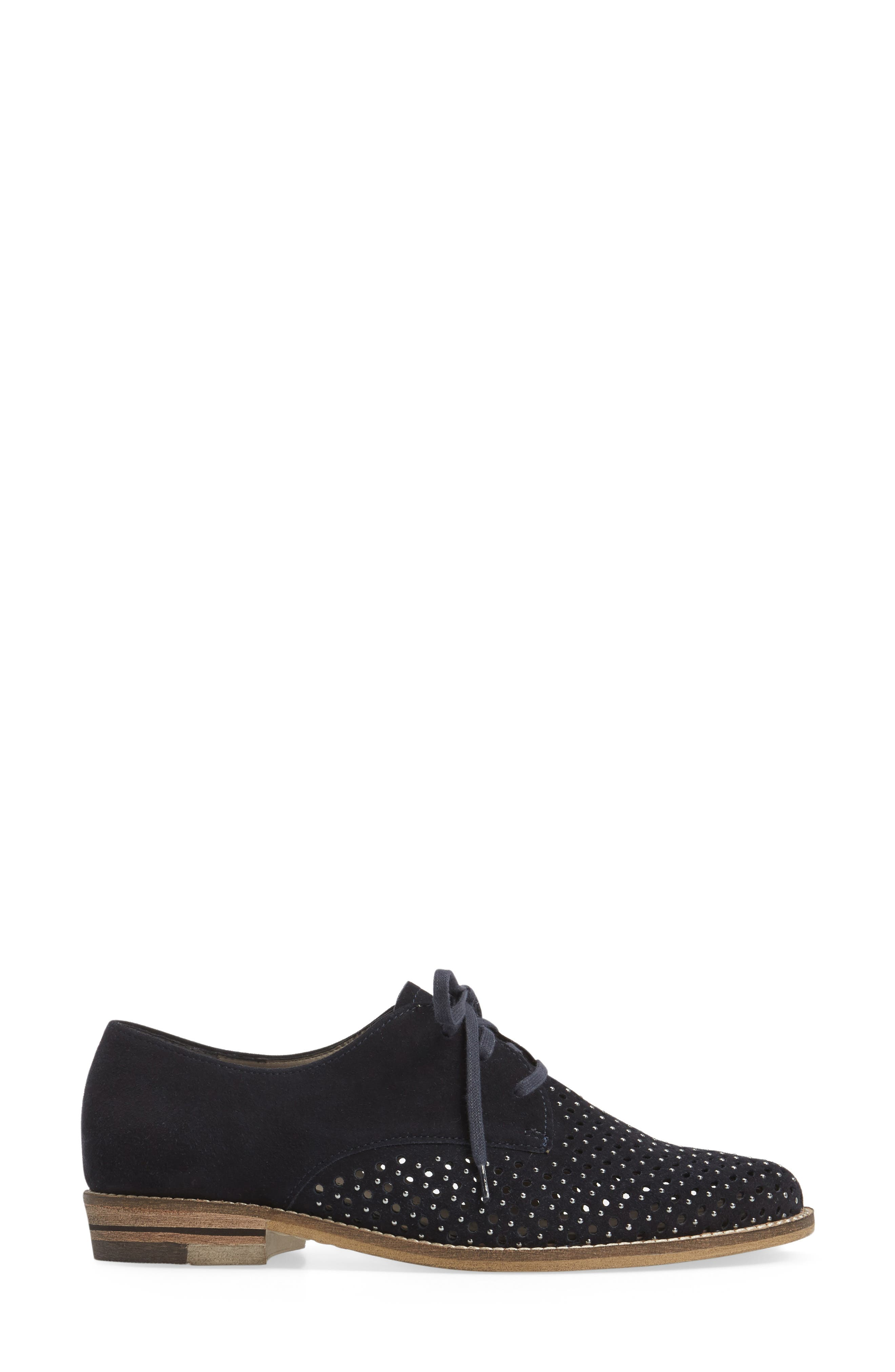 Kyleigh Studded Oxford,                             Alternate thumbnail 3, color,                             Midnight Suede