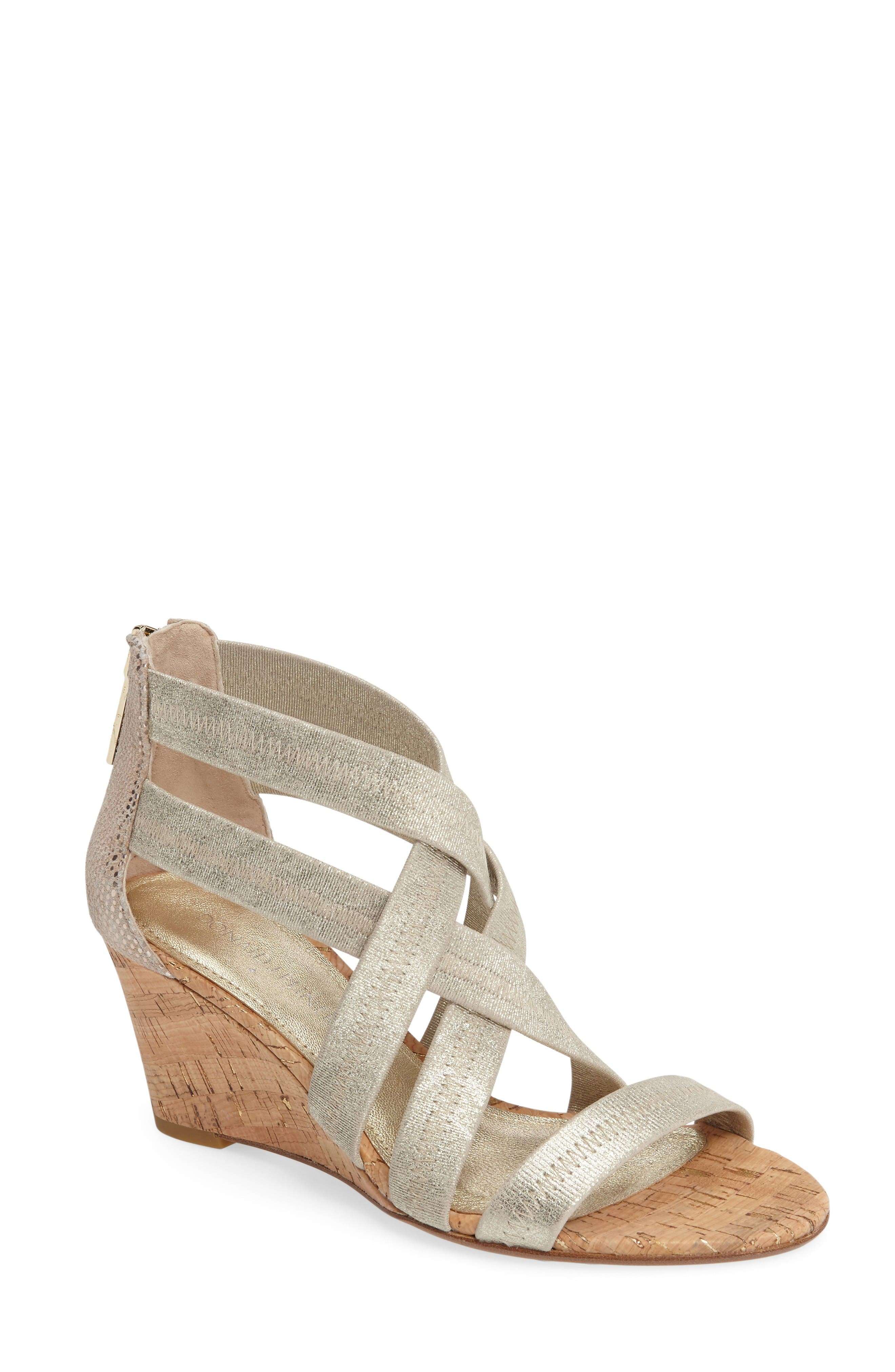 Donald J Pliner Jemi Wedge Sandal,                         Main,                         color, Platino Leather