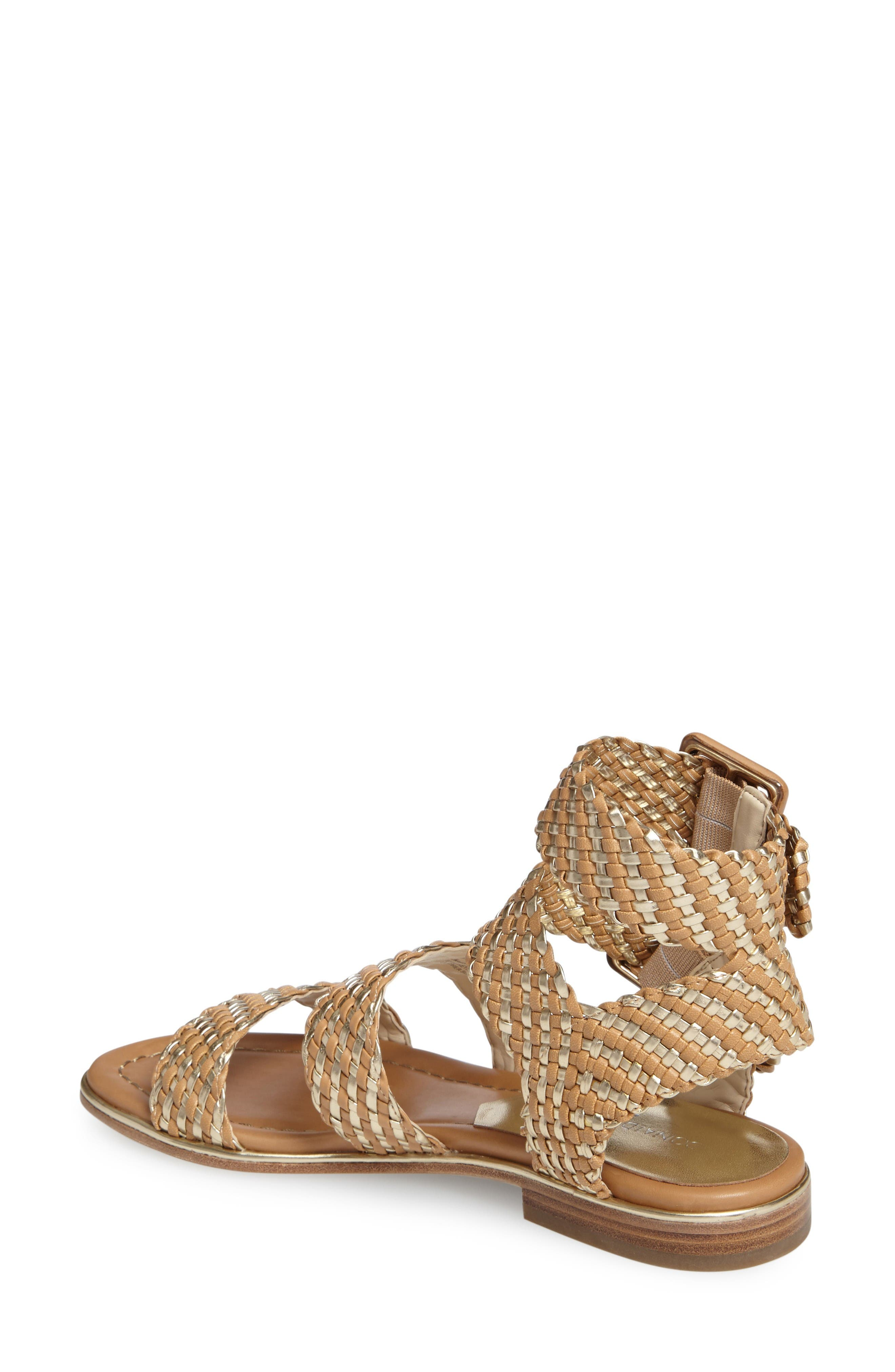 Donald J Pliner Lucia Braided Sandal,                             Alternate thumbnail 2, color,                             Sand/ Platino Faux Leather