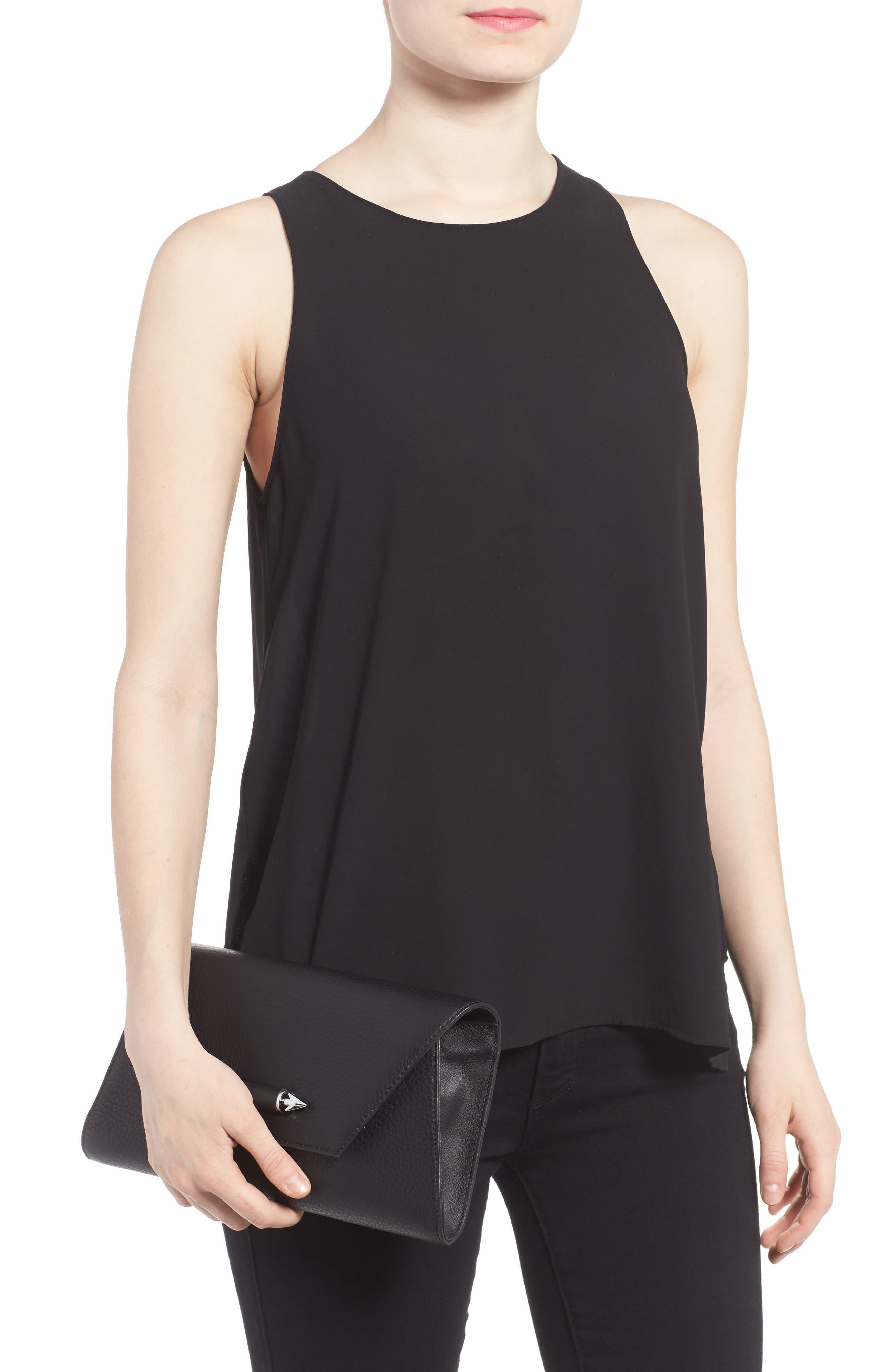 Flex Leather Envelope Clutch,                             Alternate thumbnail 2, color,                             Black