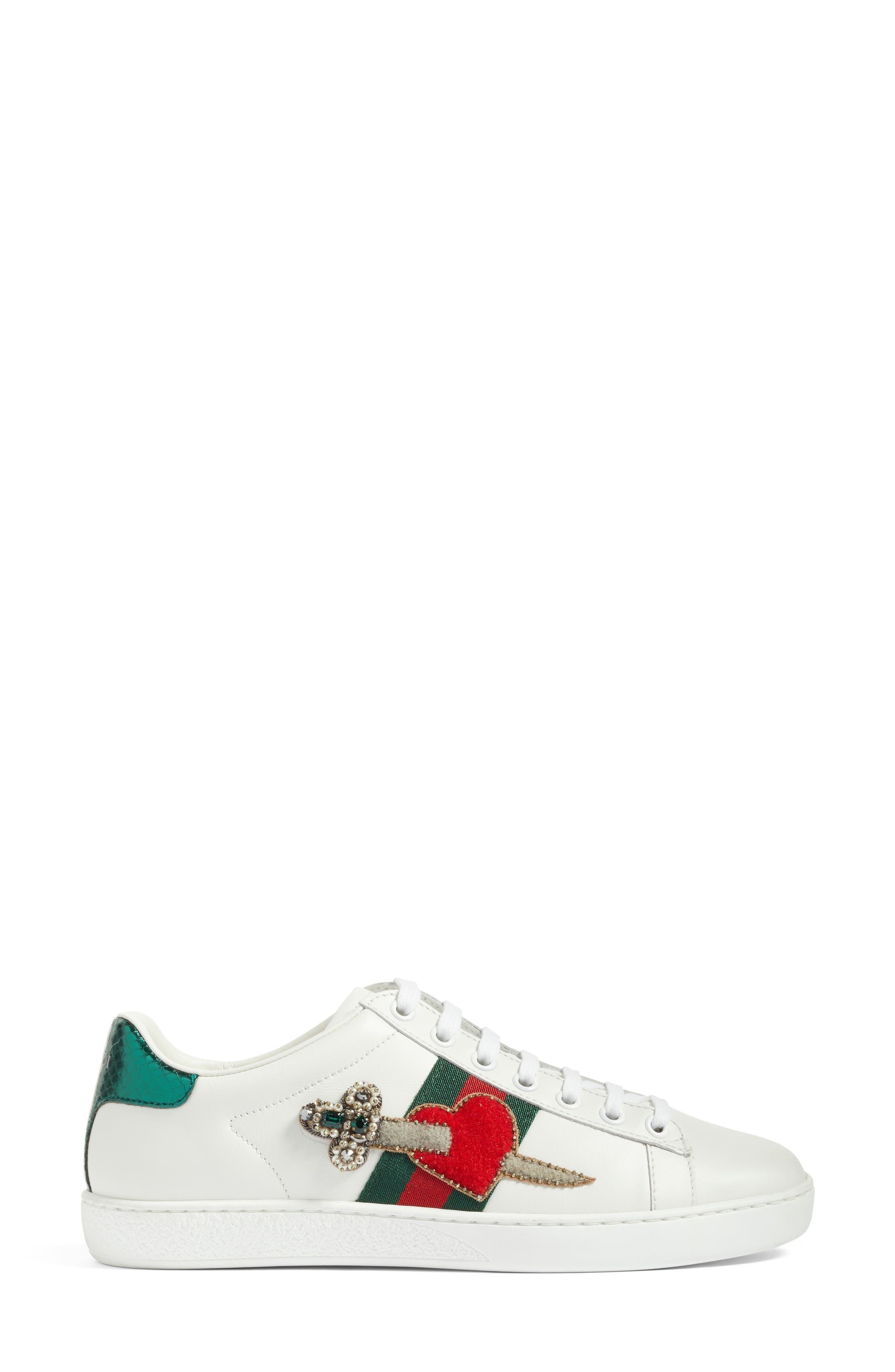 New Ace Pierced Heart Sneaker,                             Alternate thumbnail 3, color,                             White Multi