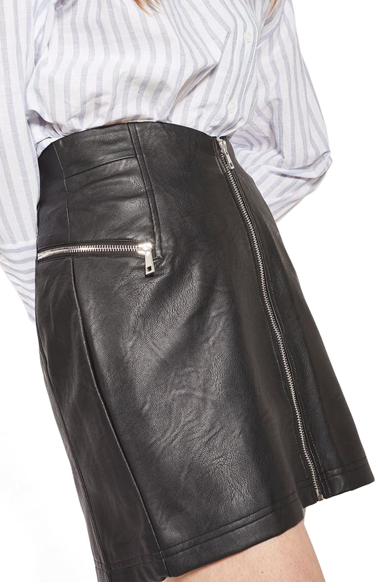 Alternate Image 3  - Topshop Zip Faux Leather Miniskirt