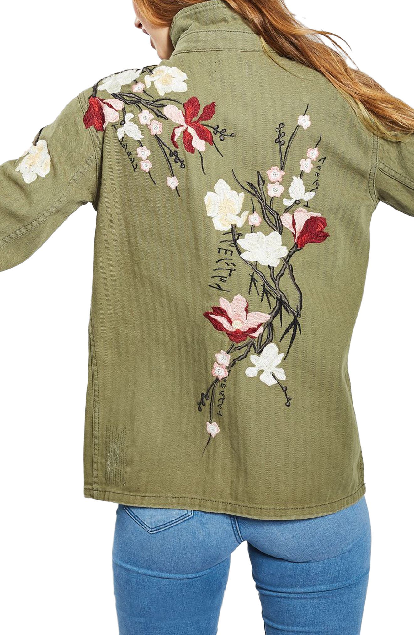 Embroidered Army Shirt Jacket,                             Alternate thumbnail 2, color,                             Olive