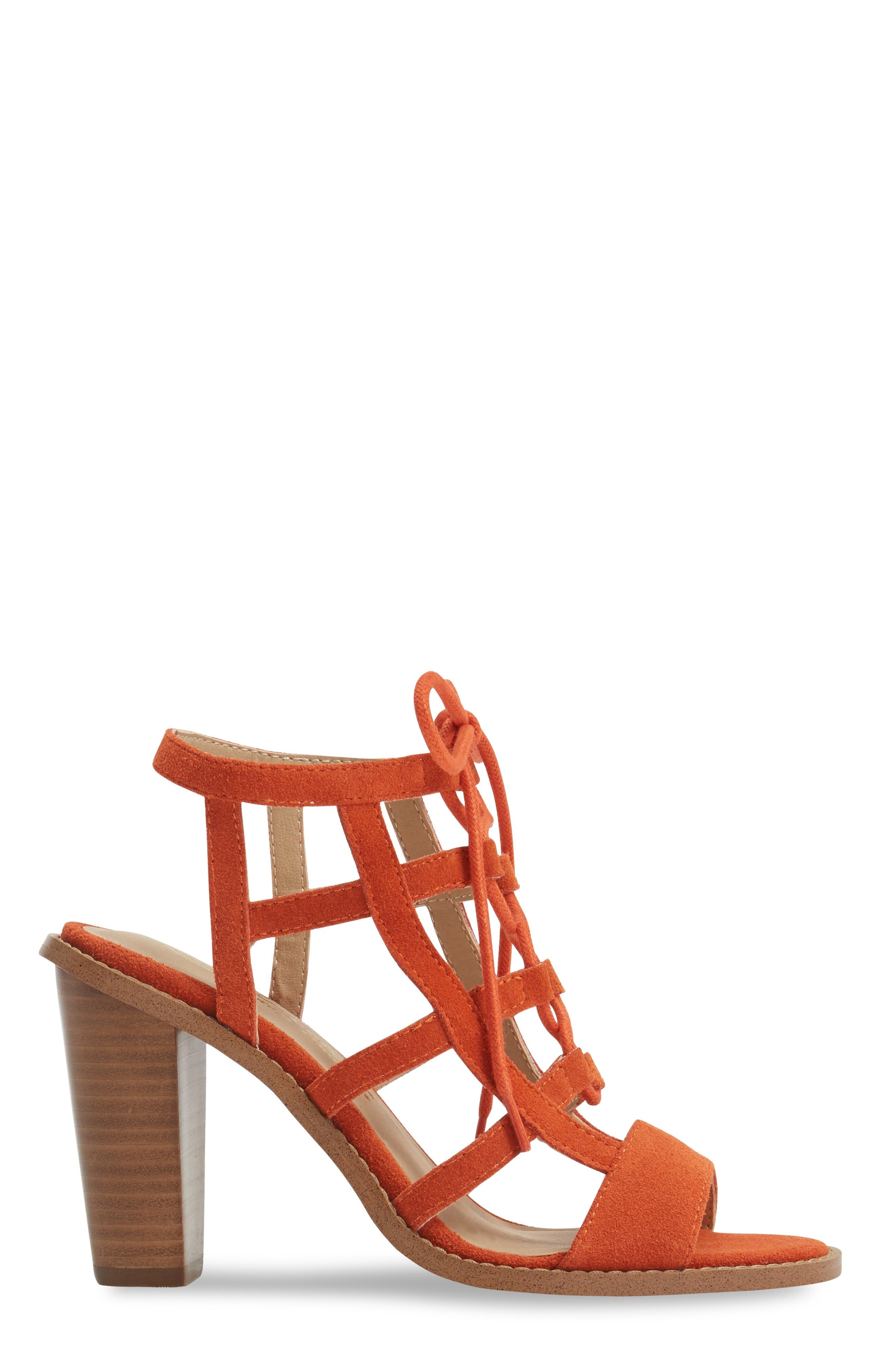 Sanni Cage Sandal,                             Alternate thumbnail 3, color,                             Orange Leather