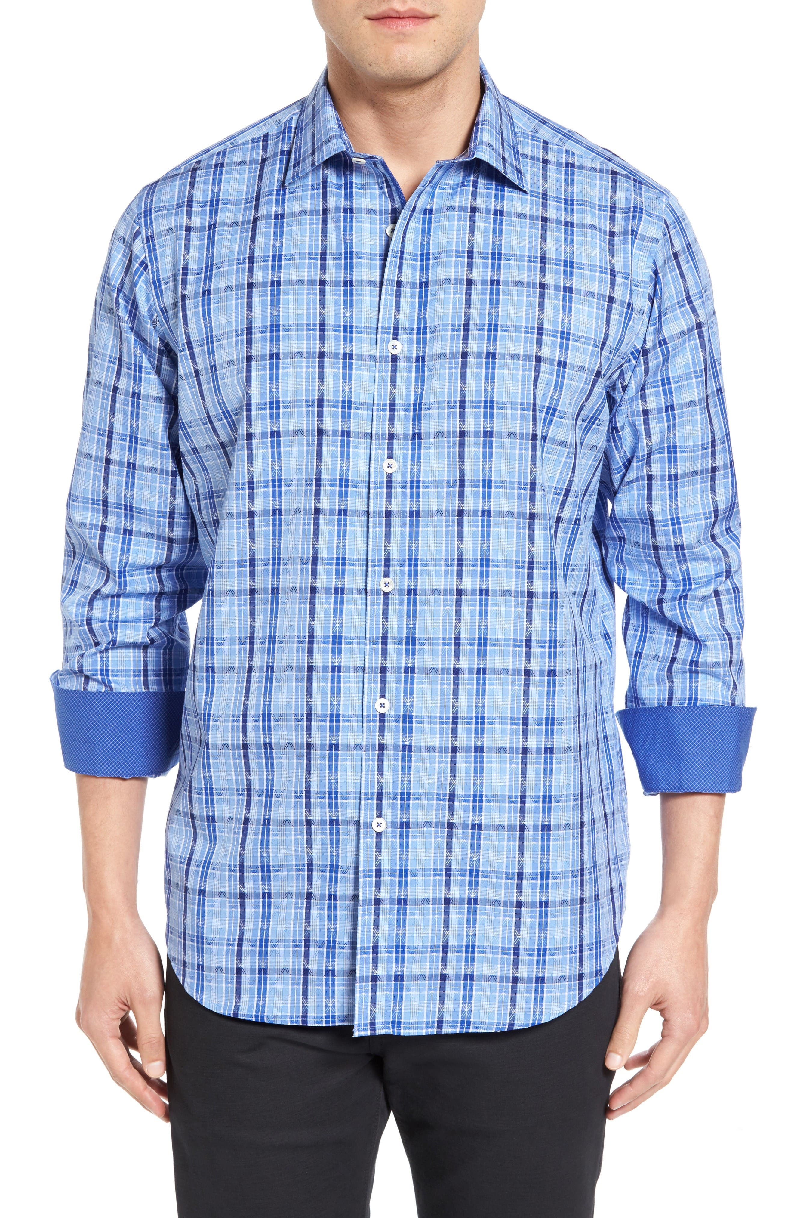 Classic Fit Check Sport Shirt,                             Main thumbnail 1, color,                             Classic Blue