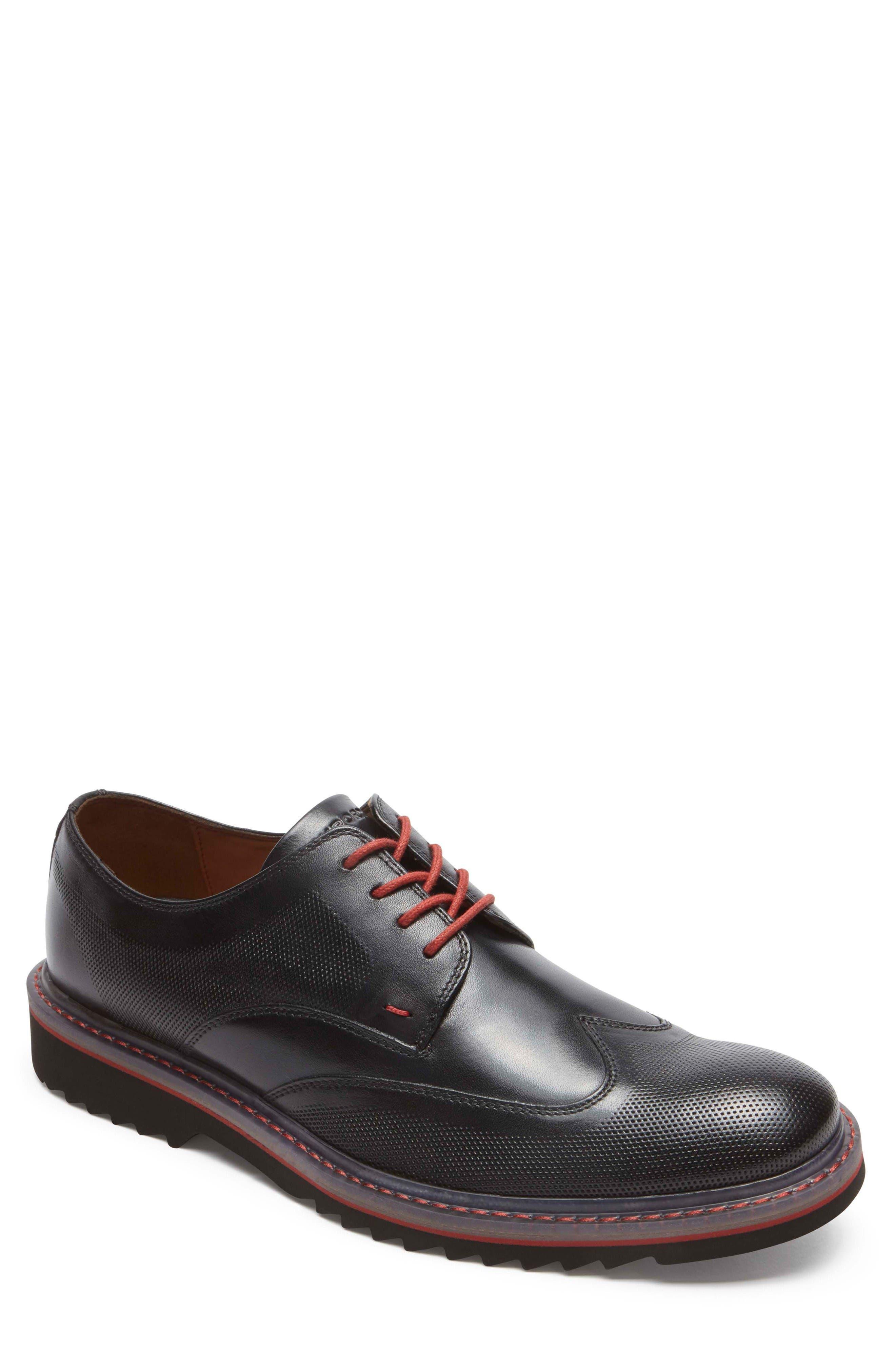 Jaxson Wingtip,                         Main,                         color, Black Leather