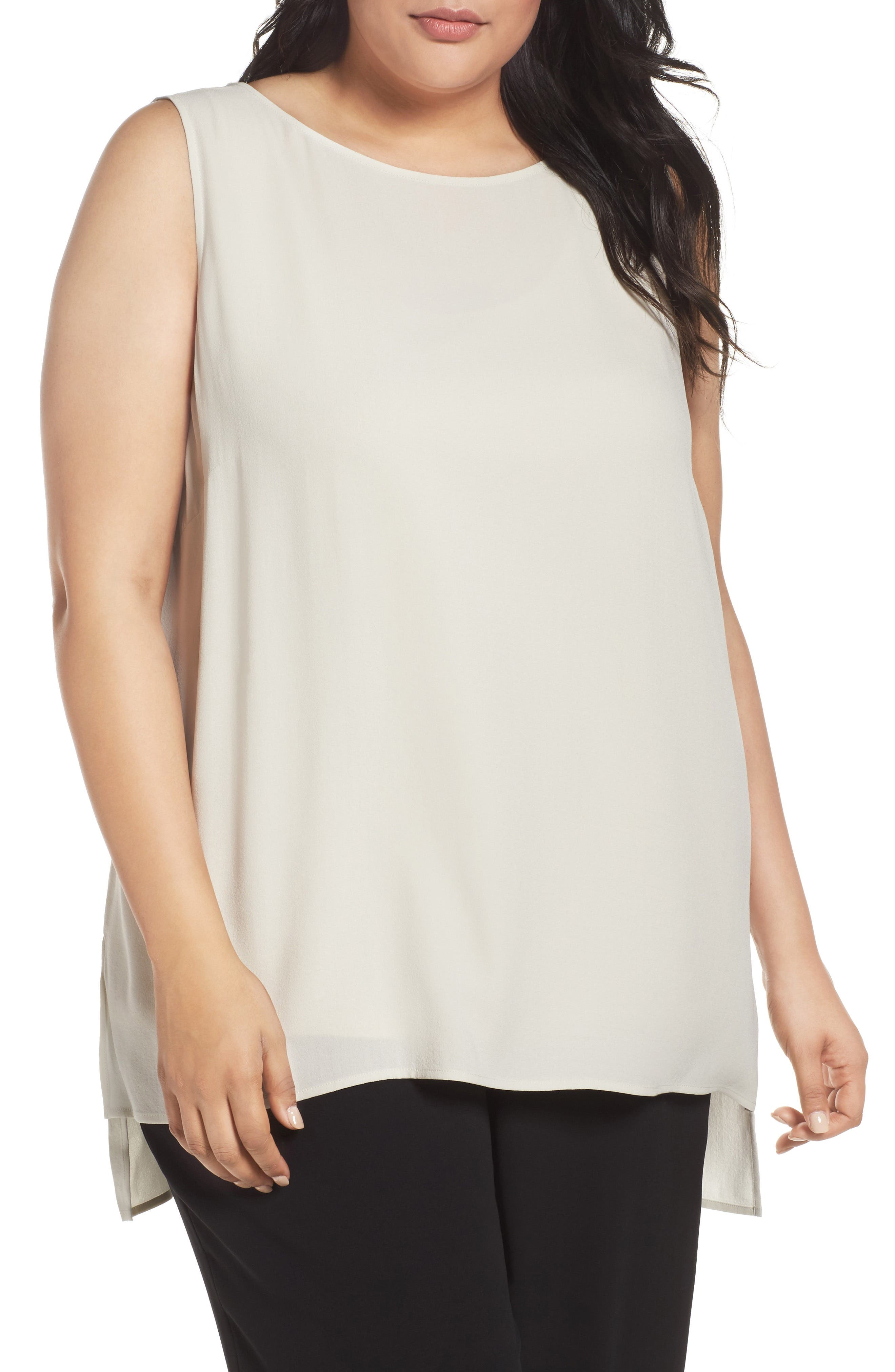 Alternate Image 1 Selected - Eileen Fisher Silk Georgette Crepe Top (Plus Size)